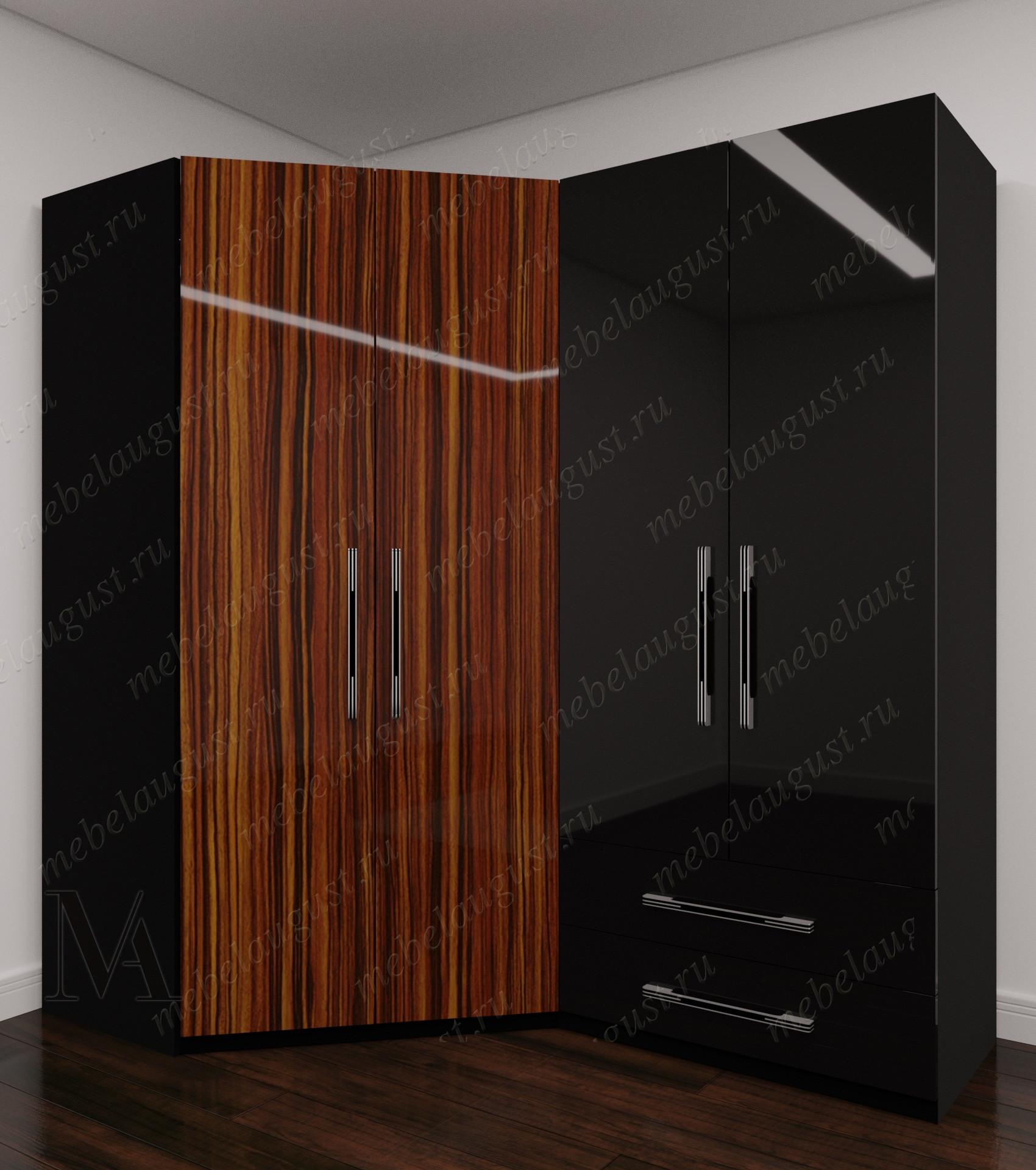 Глянцевый четырехстворчатый распашной шкаф для одежды с ящиками в спальню
