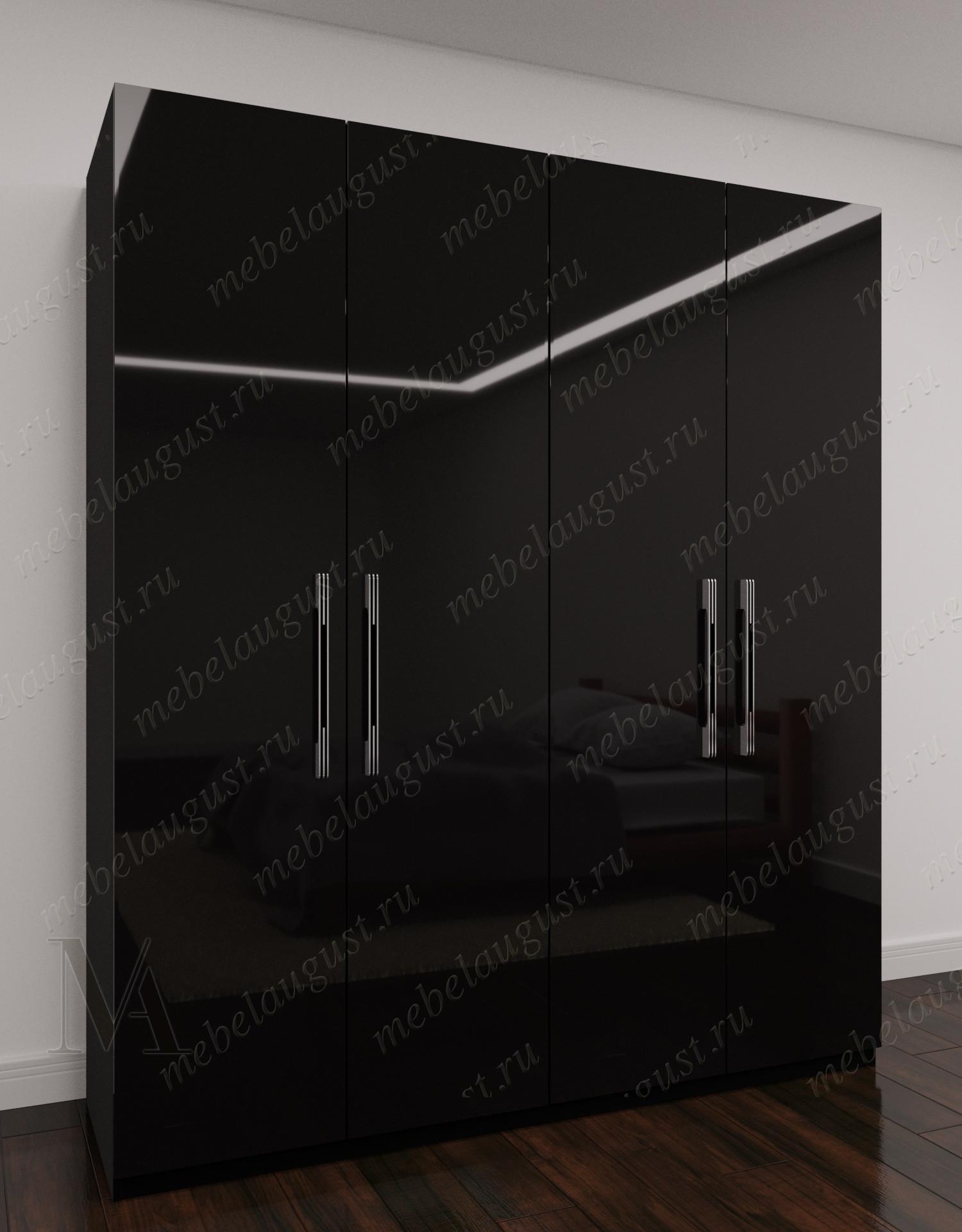 Черный глянцевый четырехдверный распашной шкаф для одежды для спальни