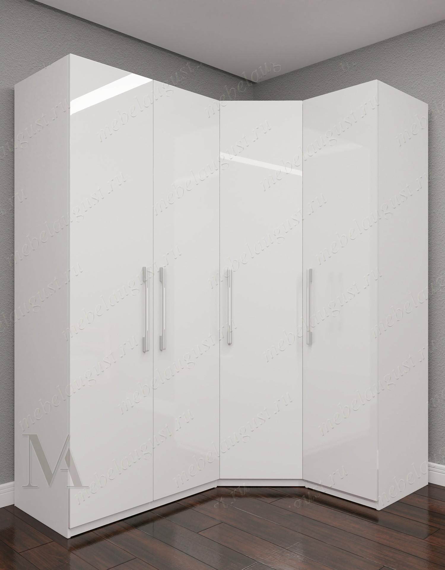 Четырехдверный угловой распашной шкаф для одежды в спальню цвета белый глянец