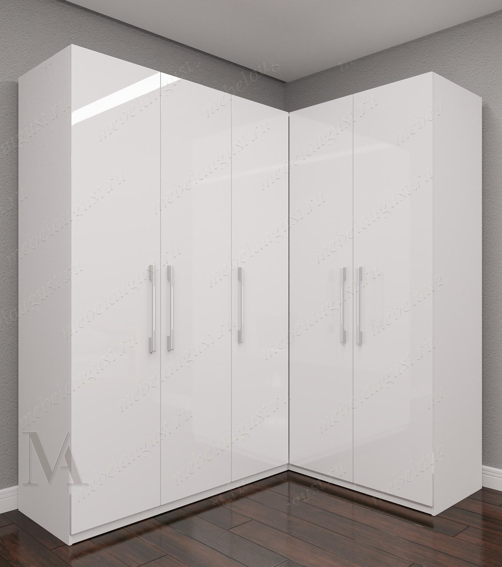 Белый глянцевый большой угловой распашной шкаф для одежды в коридор