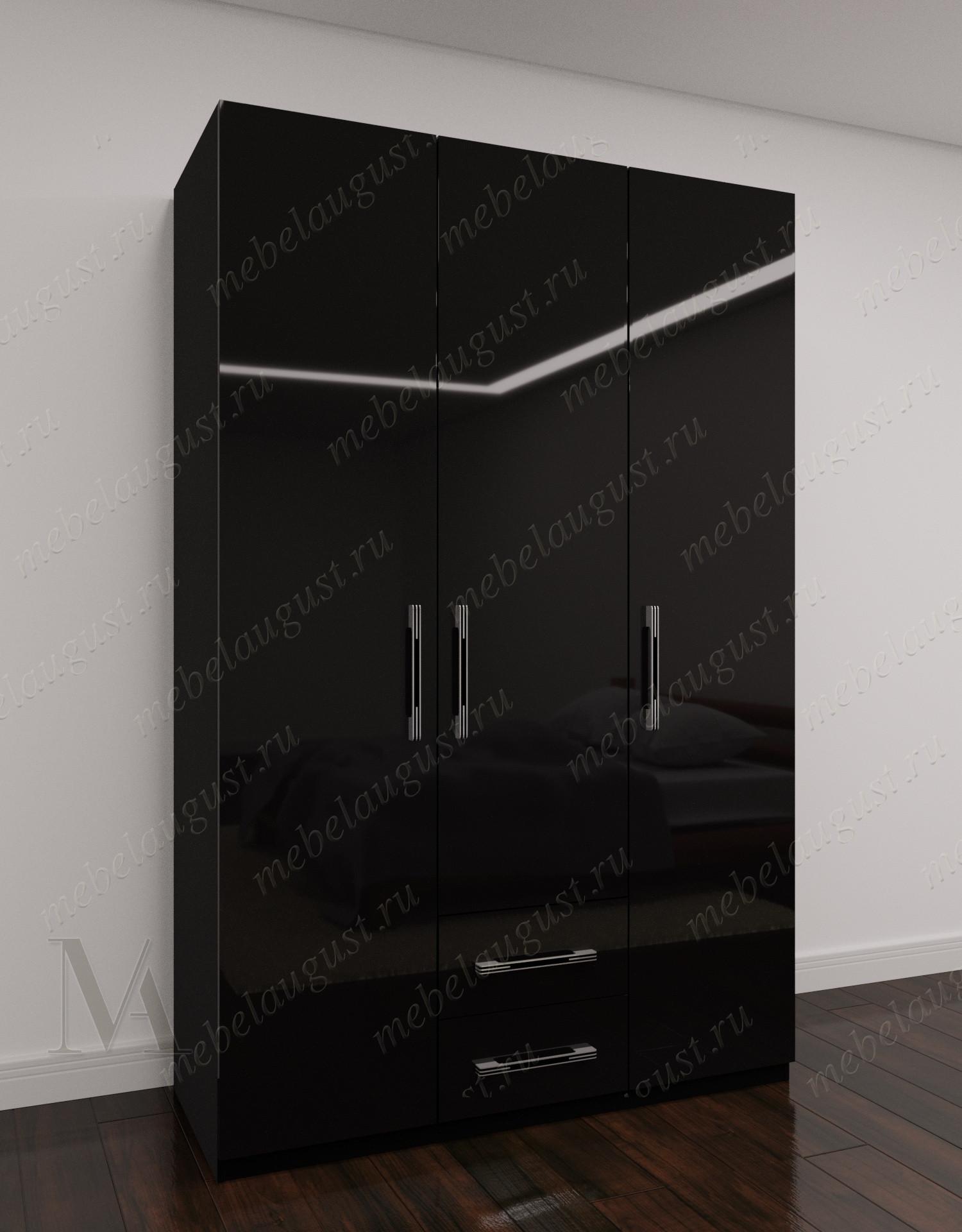 Трехдверный распашной шкаф для одежды с ящиками для мелочей в спальню цвета черный глянец