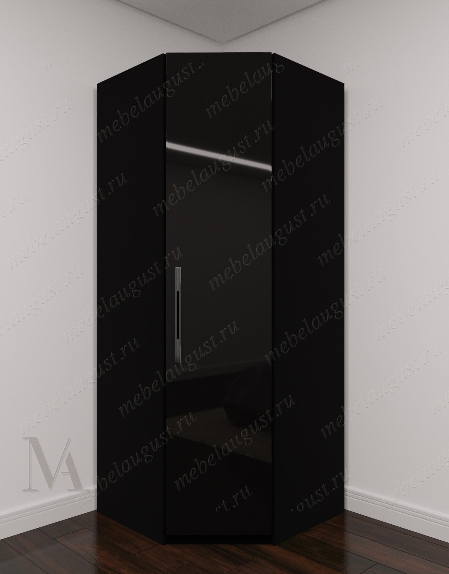 Черный глянцевый узкий угловой распашной шкаф для одежды в спальню
