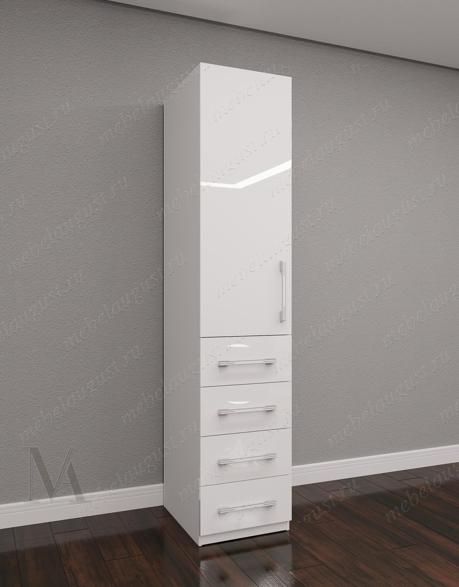 Узкий распашной шкаф для одежды для спальни с ящиками цвета белый глянец