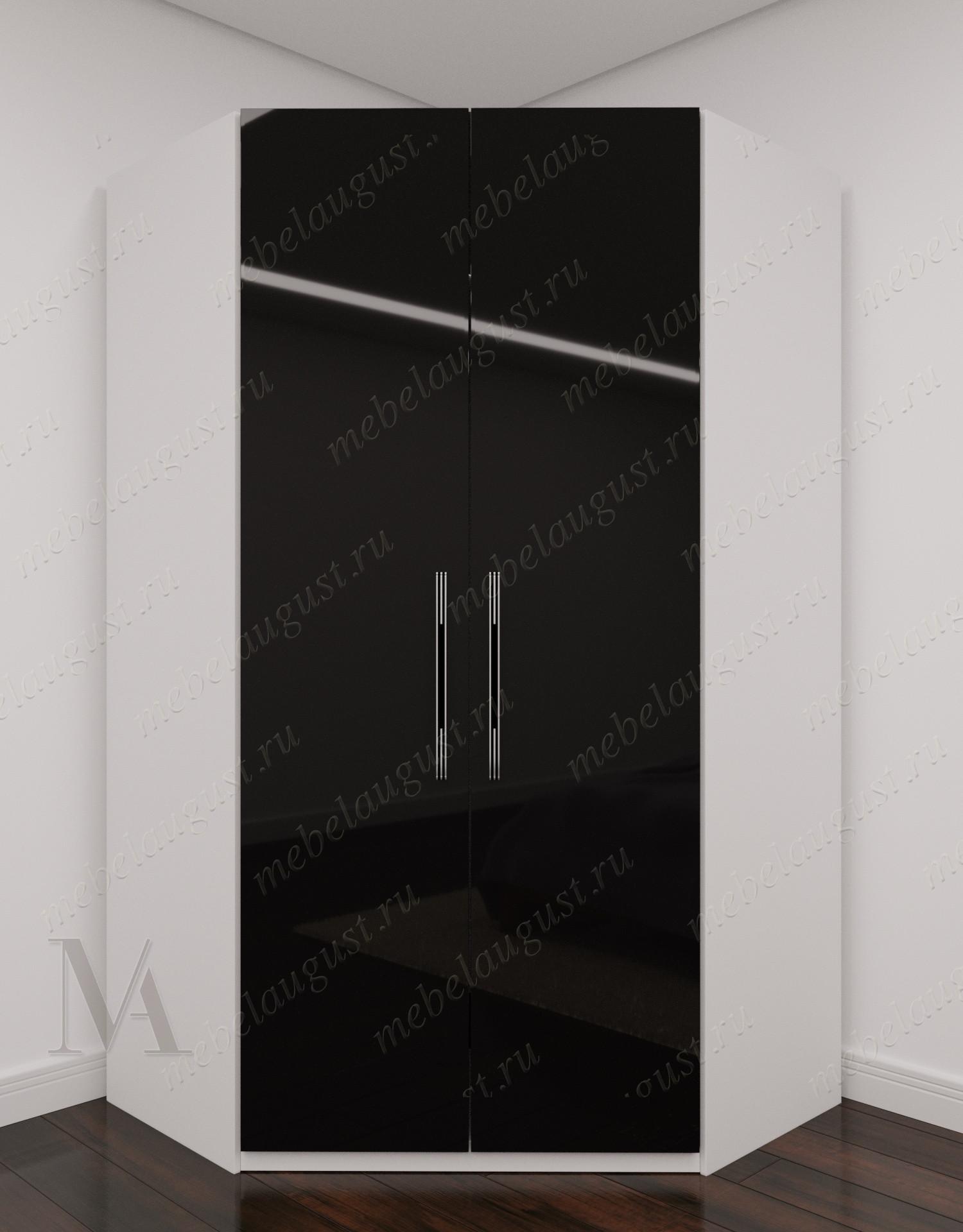 2-створчатый угловой распашной шкаф для одежды для спальни цвета черно-белый глянец