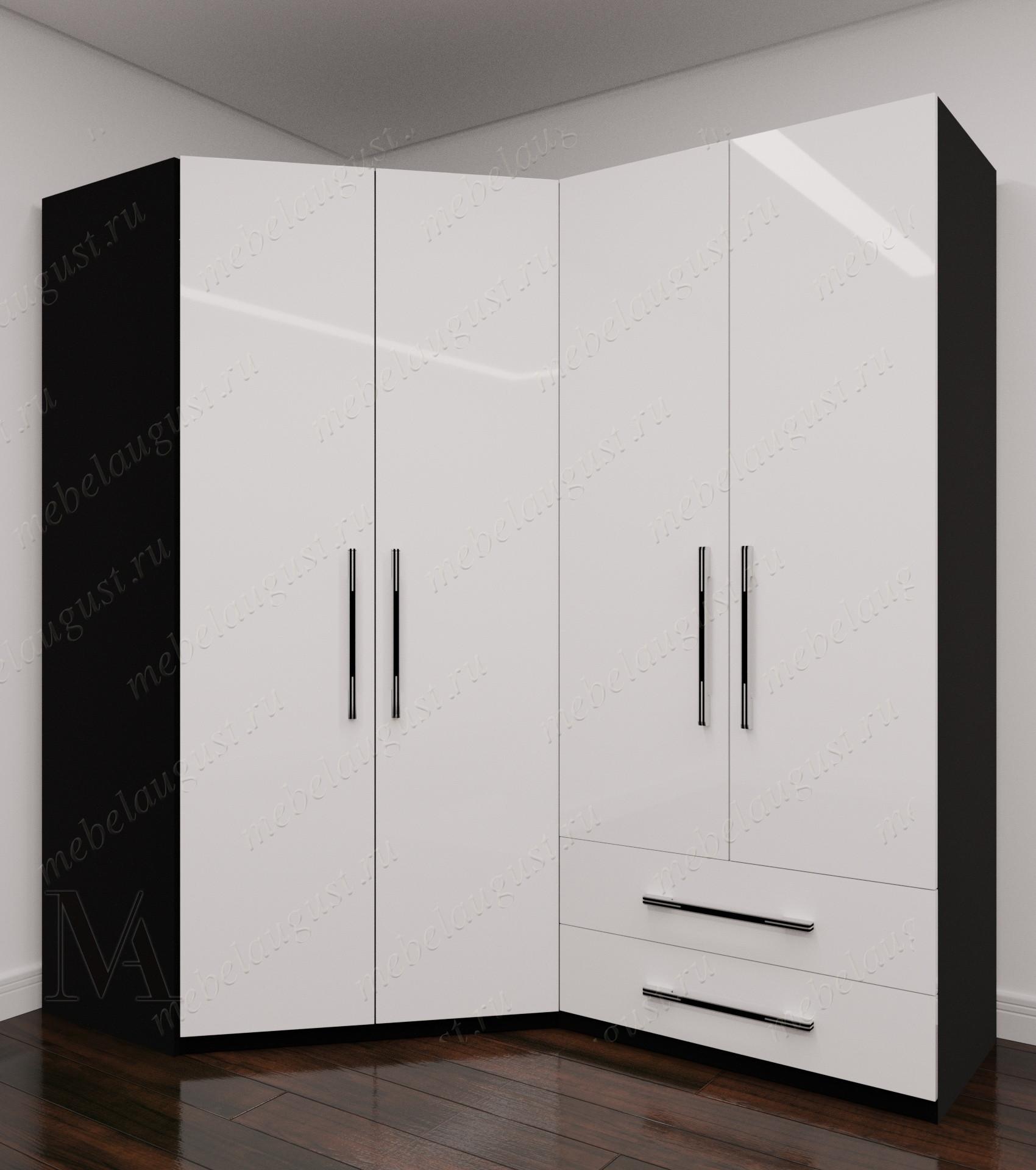 Черно-белый глянцевый четырехдверный распашной шкаф для одежды с ящиками для мелочей в спальню