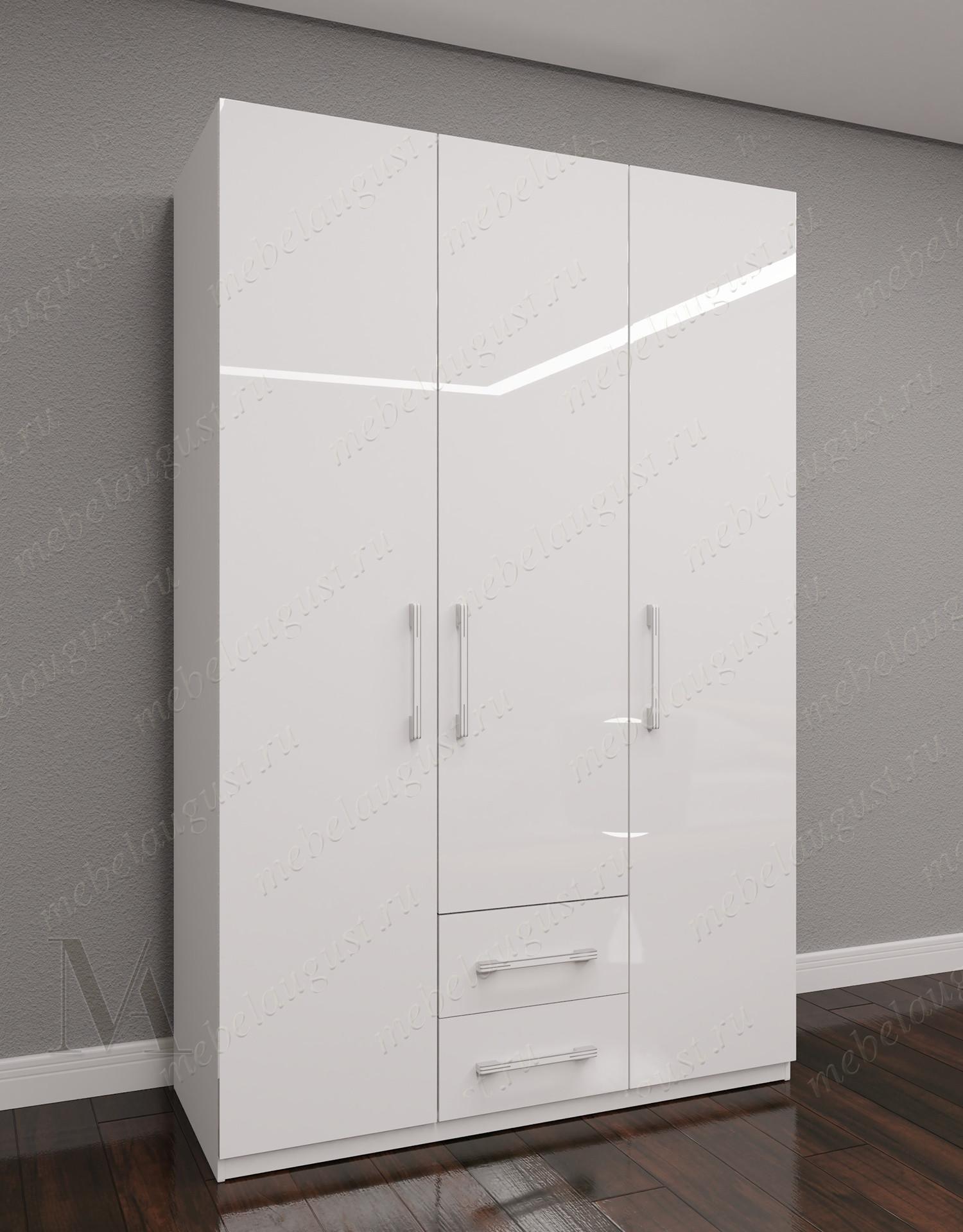 Большой распашной шкаф для одежды с ящиками для мелочей в спальню цвета белый глянец