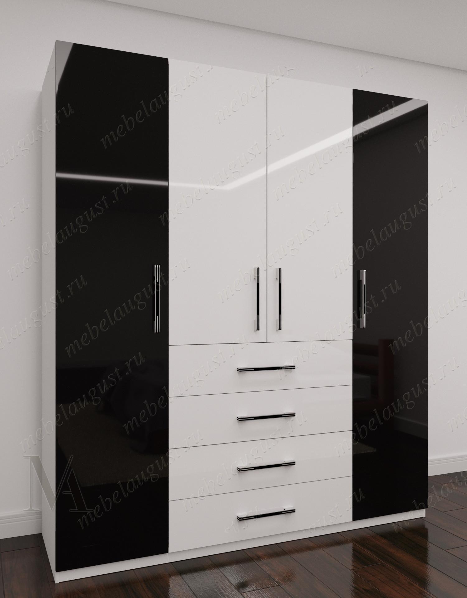 Четырехдверный распашной шкаф для одежды с выдвижными ящиками в спальню