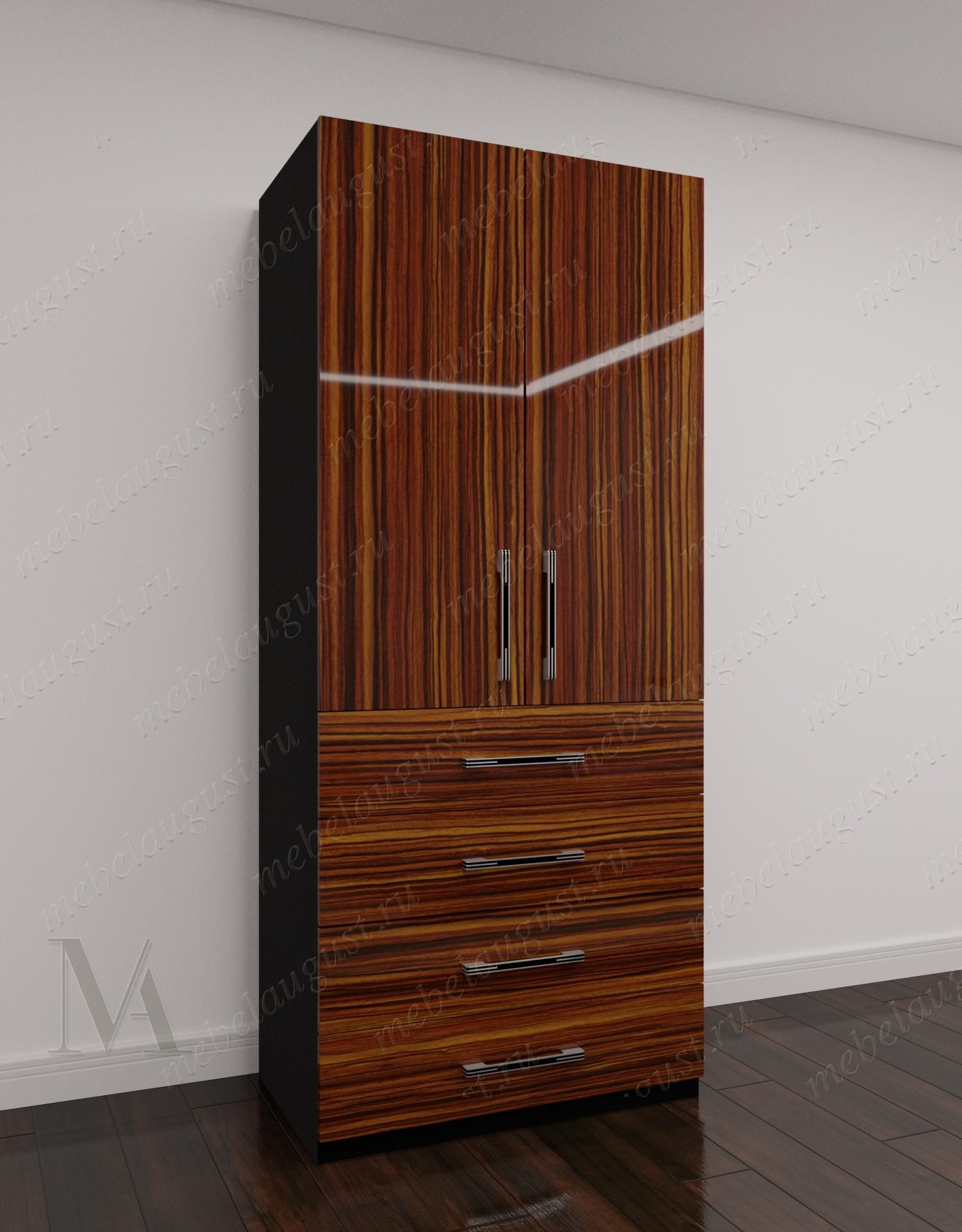 Глянцевый двухдверный распашной шкаф для одежды для спальни с выдвижными ящиками