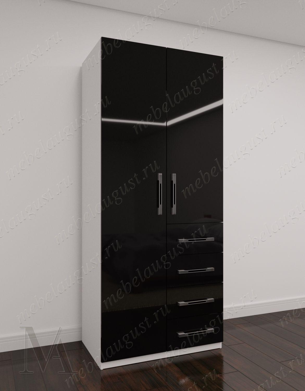 Распашной шкаф для одежды для спальни с выдвижными ящиками шириной 80-90 см цвета черно-белый глянец