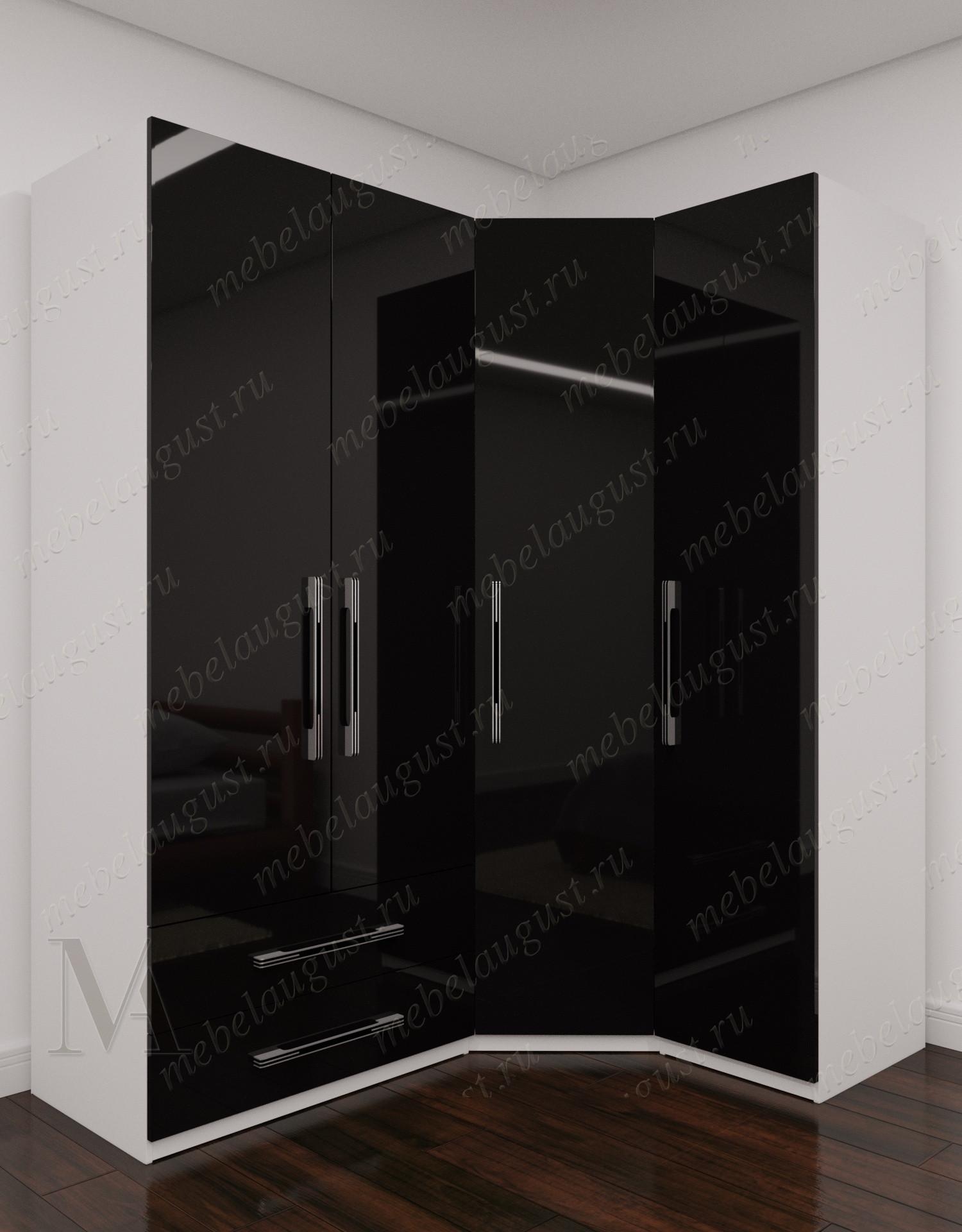 Большой распашной шкаф для одежды с ящиками для мелочей в спальню цвета черно-белый глянец