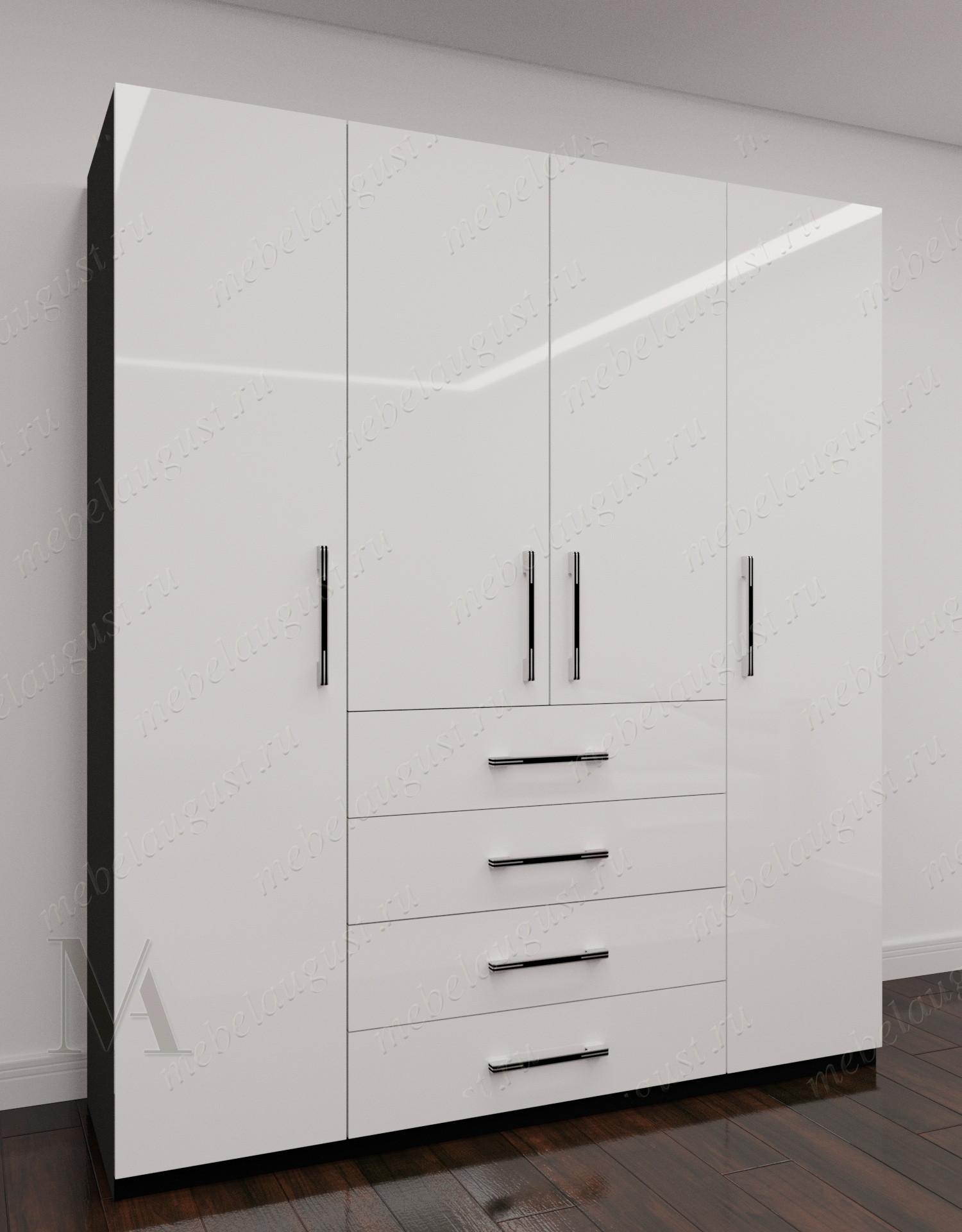 Черно-белый глянцевый 4-дверный распашной шкаф для одежды с ящиками для мелочей в спальню