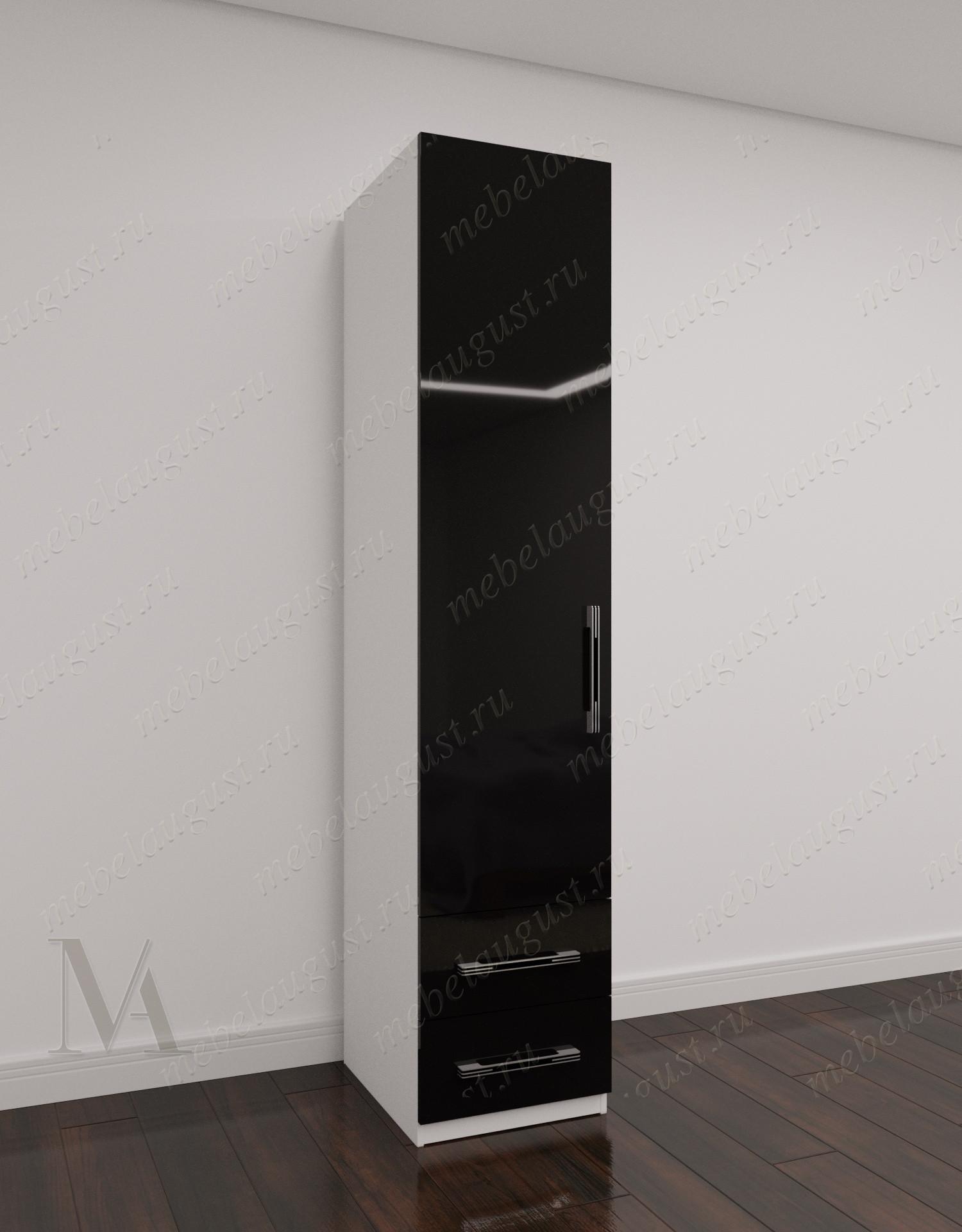 Черно-белый глянцевый узкий распашной шкаф для одежды в прихожую с выдвижными ящиками