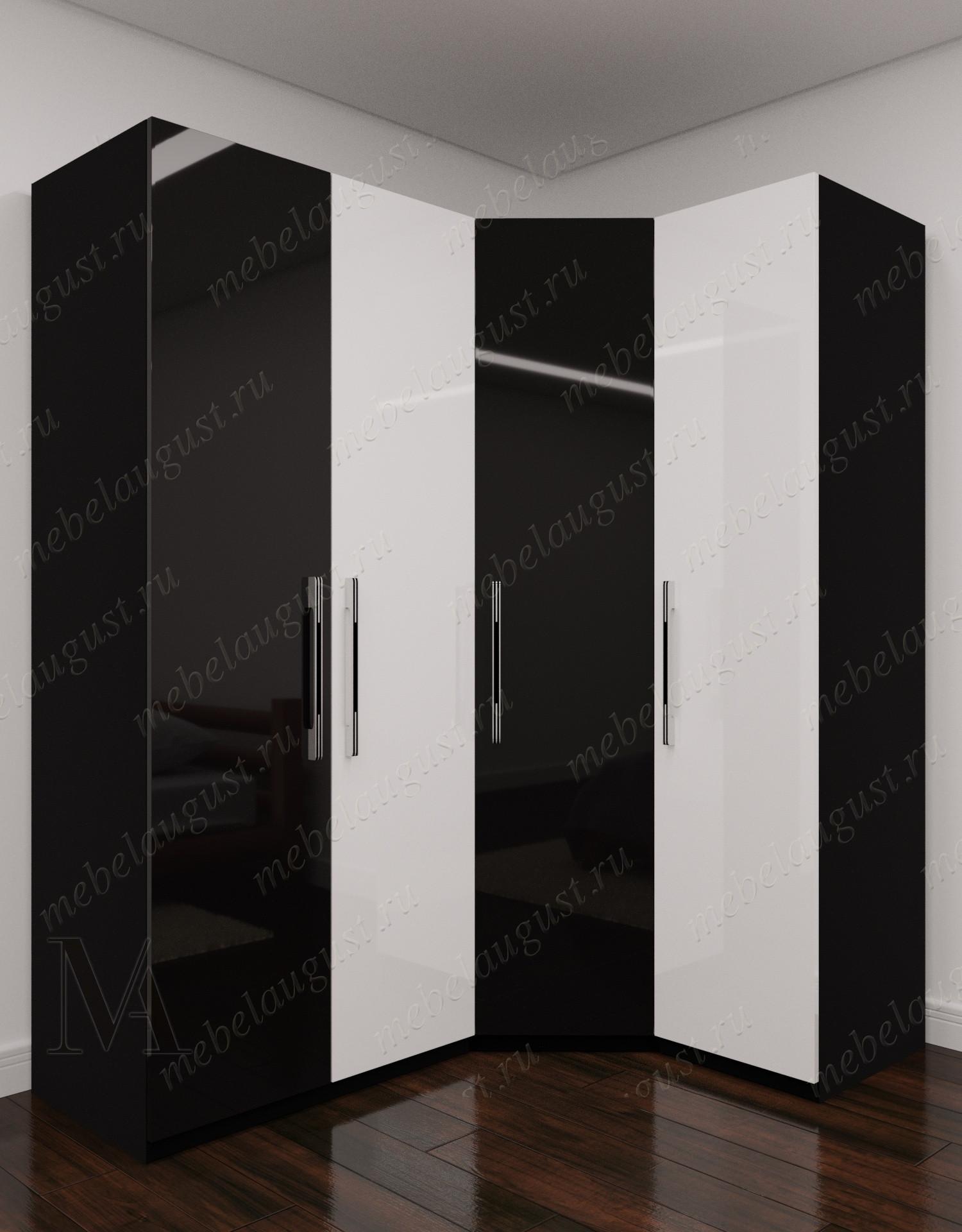4-створчатый угловой распашной шкаф для одежды для спальни цвета черно-белый глянец
