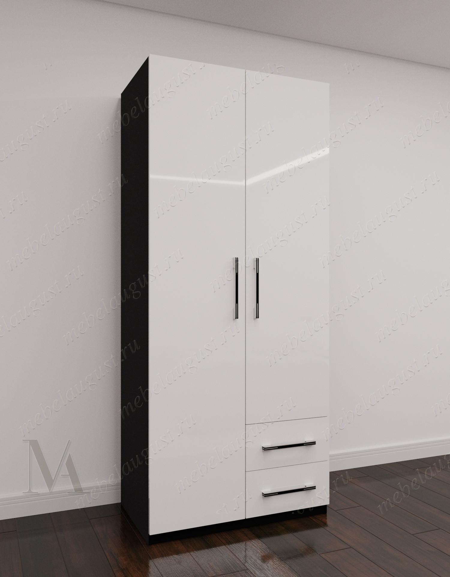 Черно-белый глянцевый 2-дверный распашной шкаф для одежды в коридор с ящиками