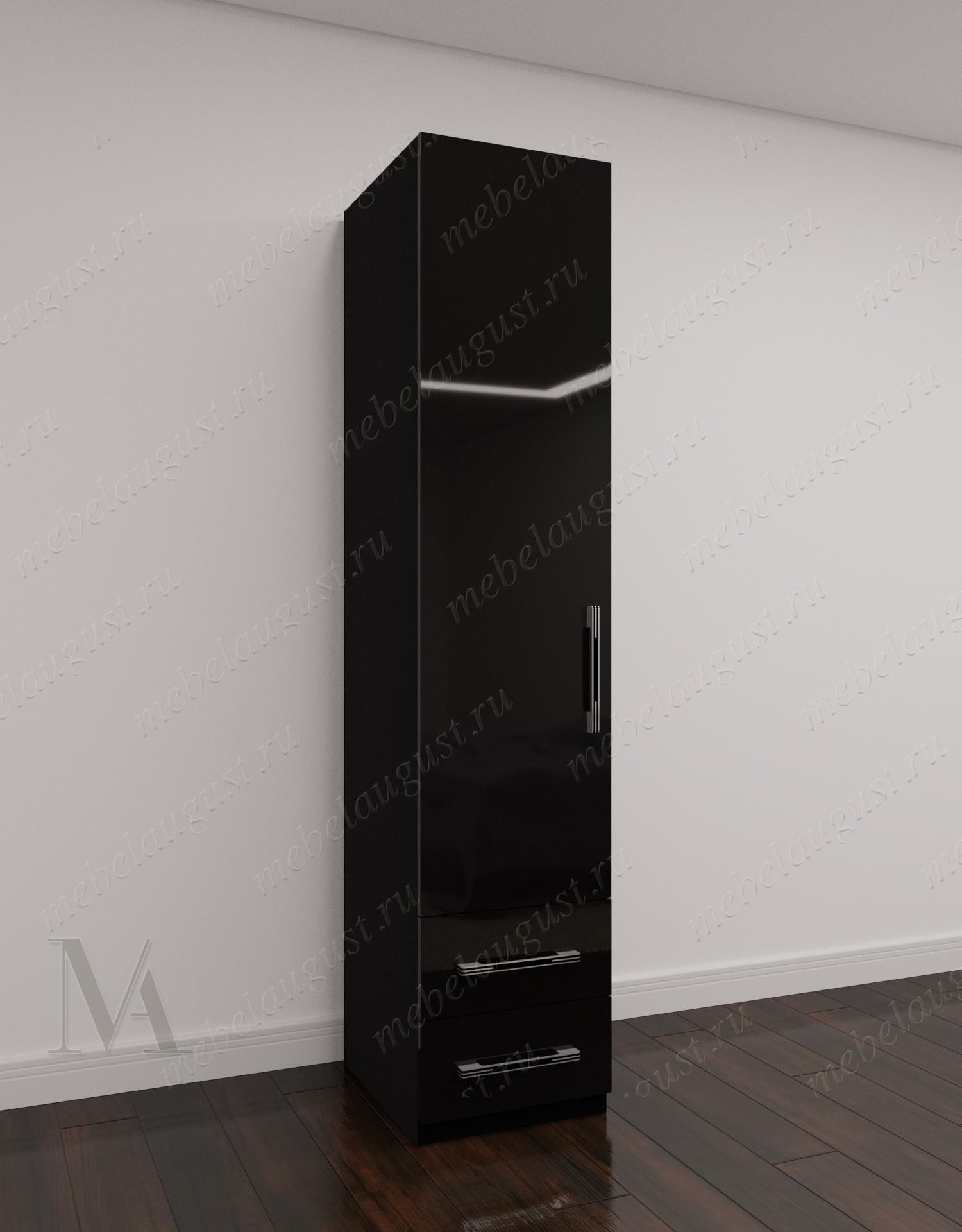 Однодверный распашной шкаф для одежды в коридор с ящиками цвета черный глянец