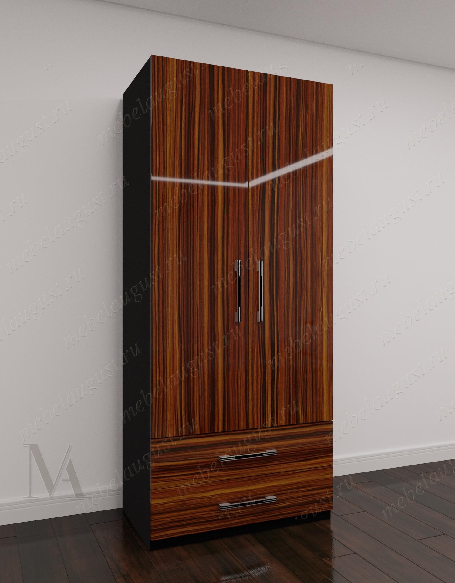 Глянцевый 2-створчатый распашной шкаф для одежды для спальни с выдвижными ящиками