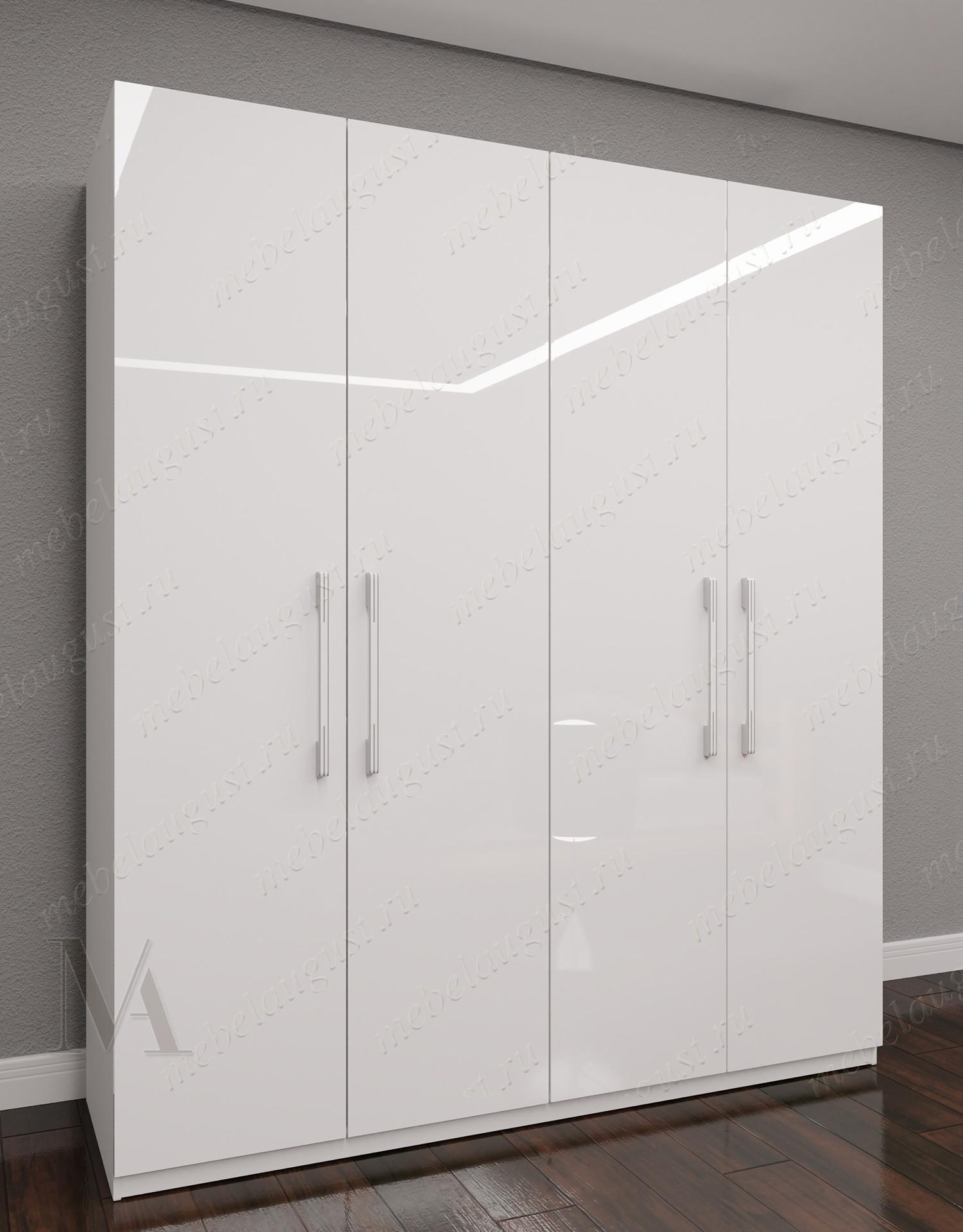 Четырехстворчатый распашной шкаф для одежды для спальни цвета белый глянец