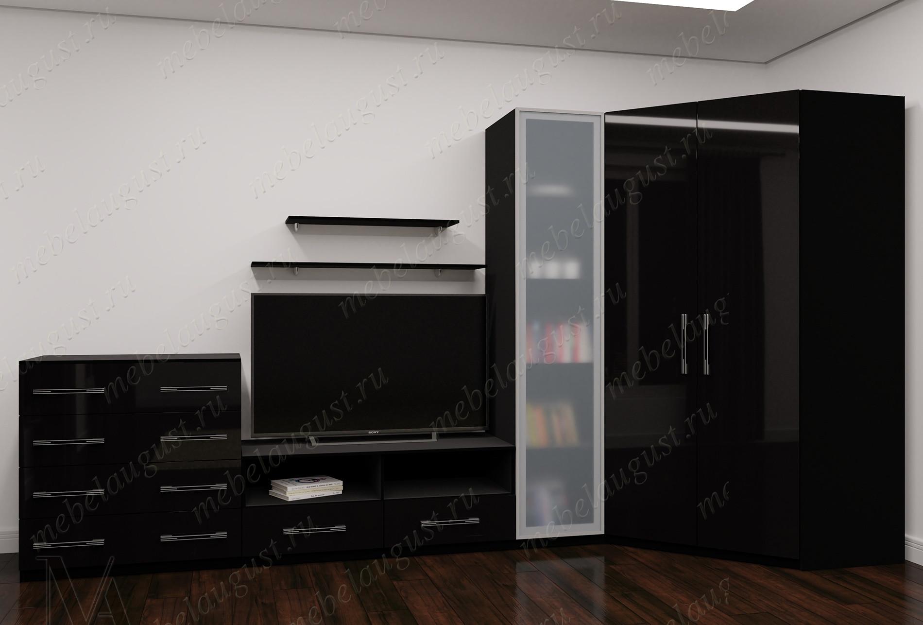 Стенка с полкой для телевизора в спальню цвета черный глянец