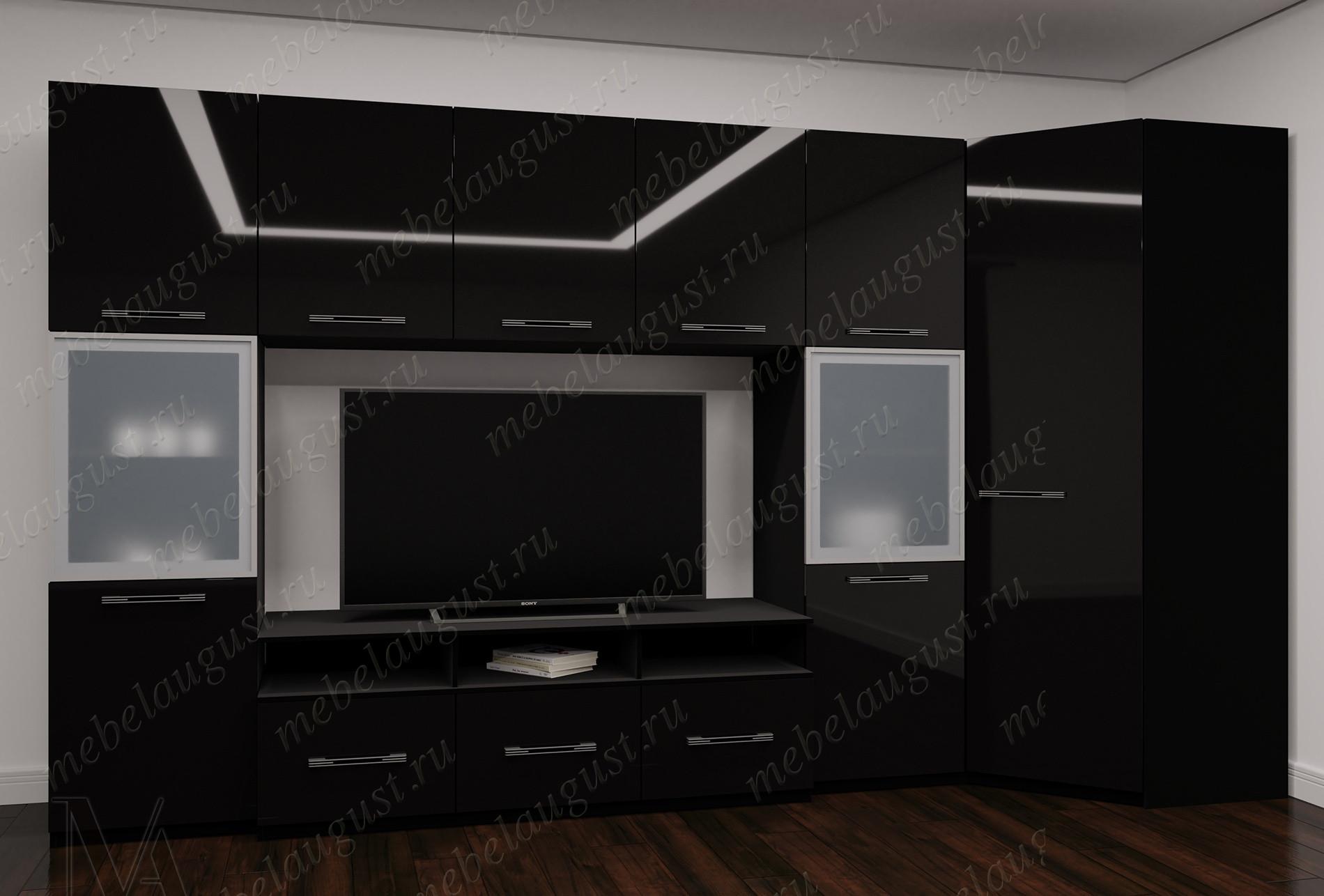 Черная глянцевая мебельная стенка под телевизор