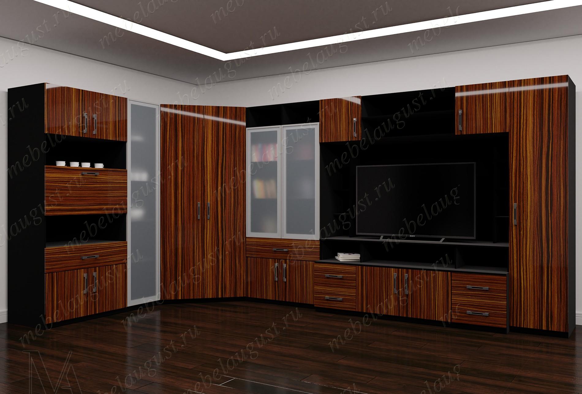 Стенка в гостиную с полкой для телевизора