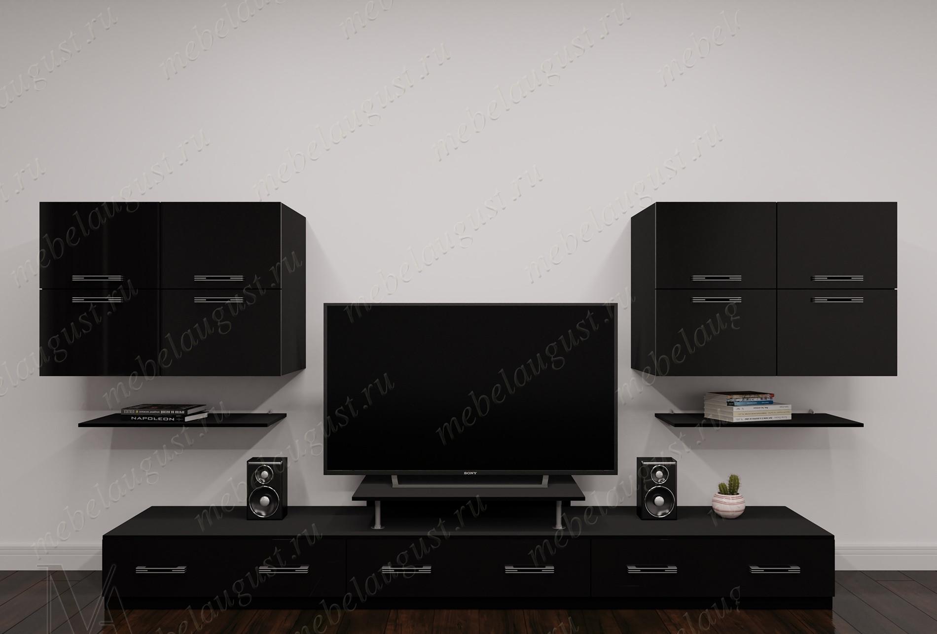 """Стенка """"тануки 4"""" под телевизор для спальни цвета черный глянец"""