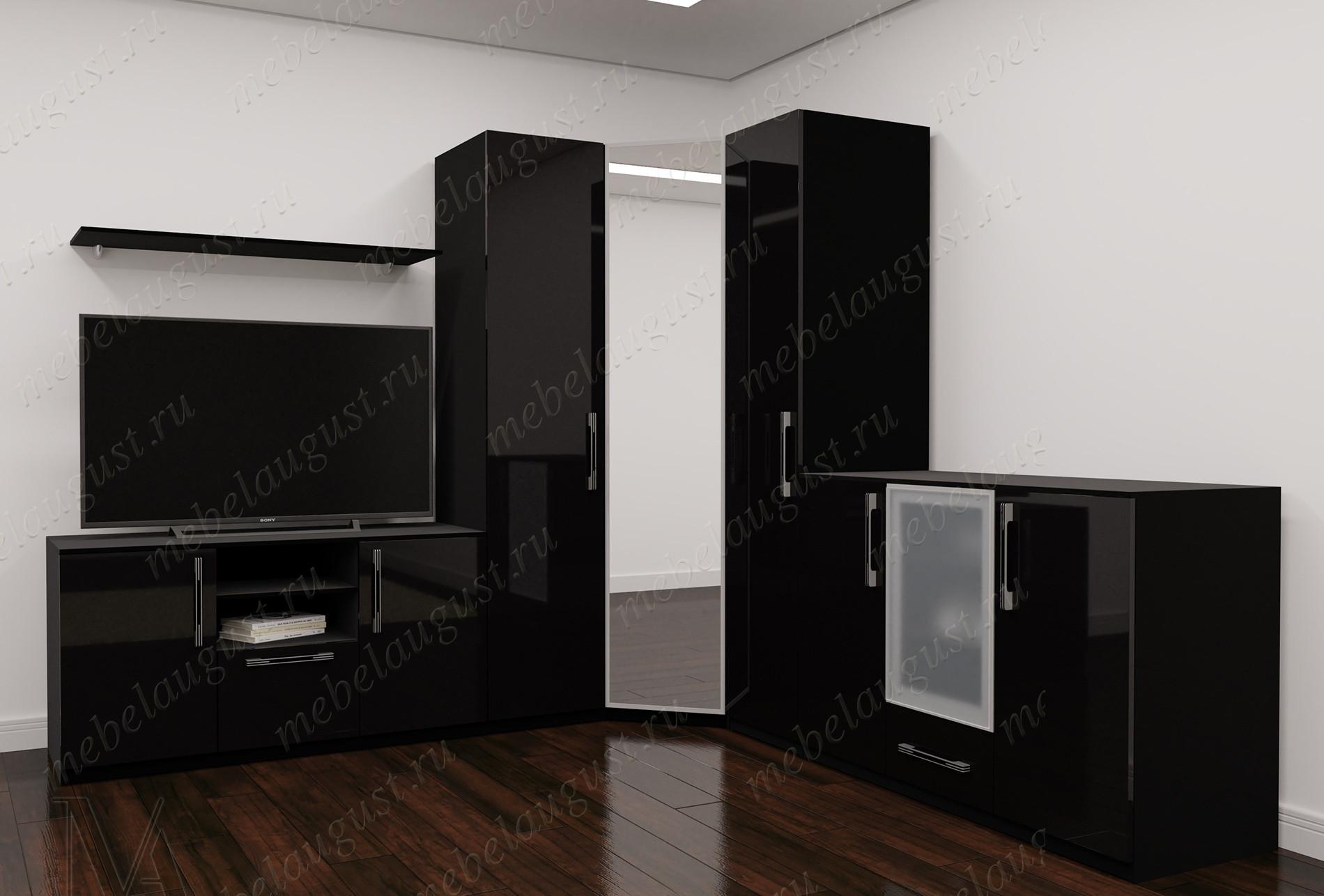 Черная глянцевая стенка в гостиную под тв в спальню
