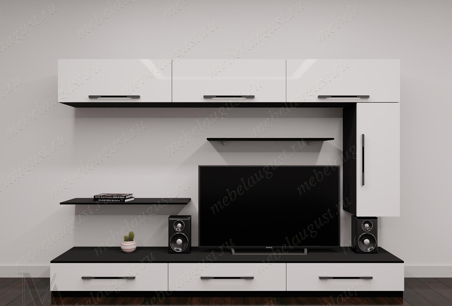 Черно-белая глянцевая мебельная стенка с полкой для телевизора