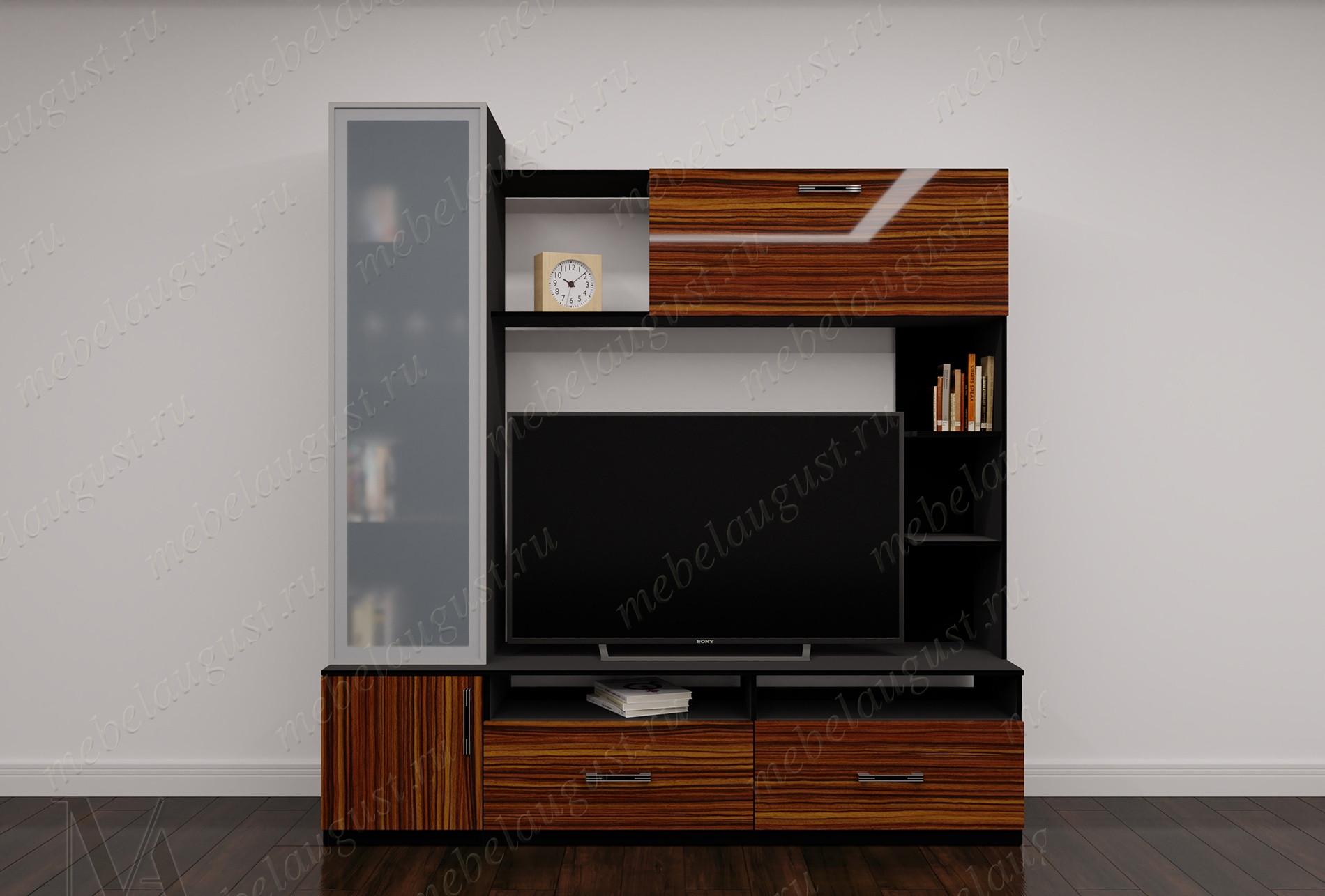 Мебельная стенка с полкой под тв цвета макасар