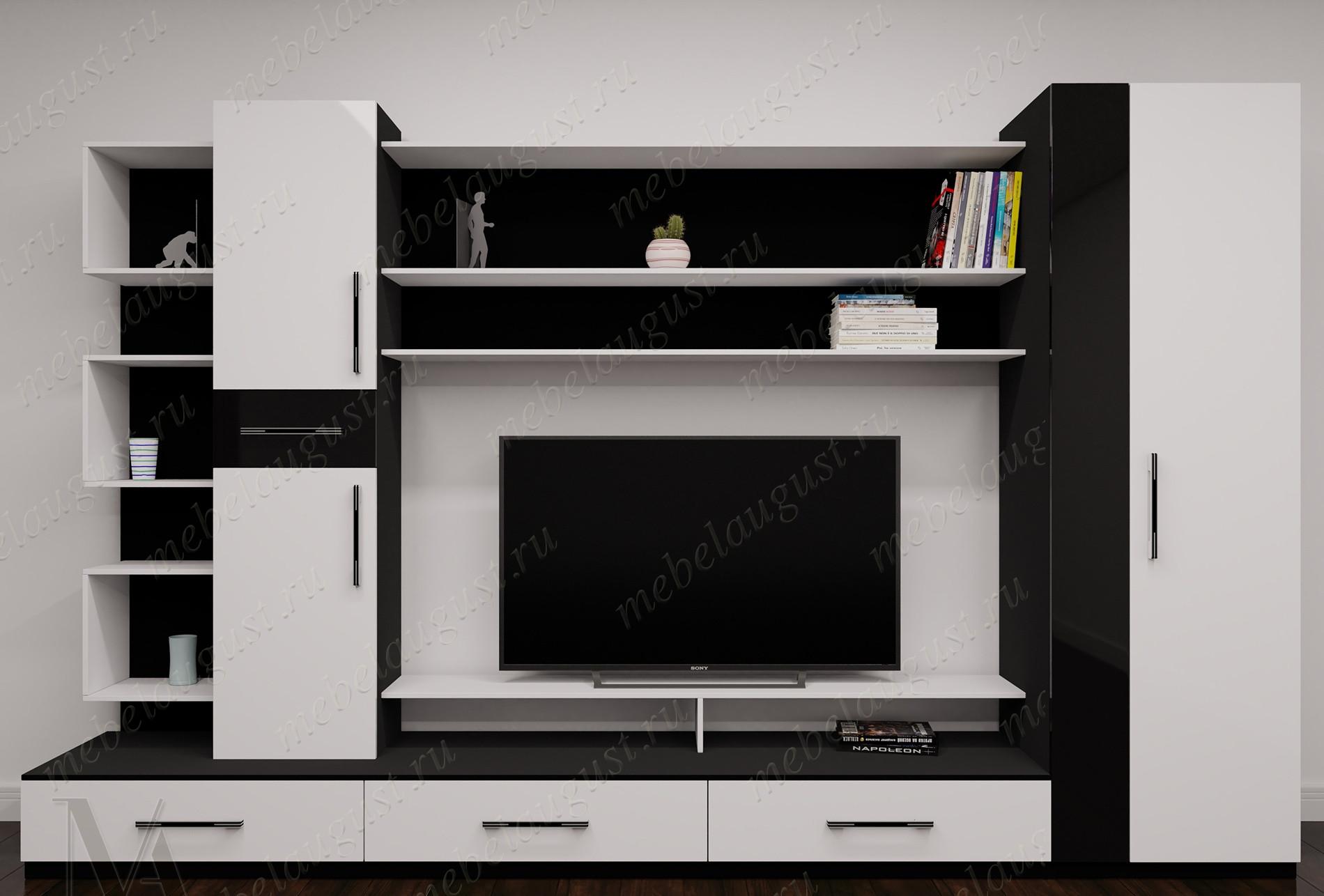 Черно-белая глянцевая мебельная стенка под тв