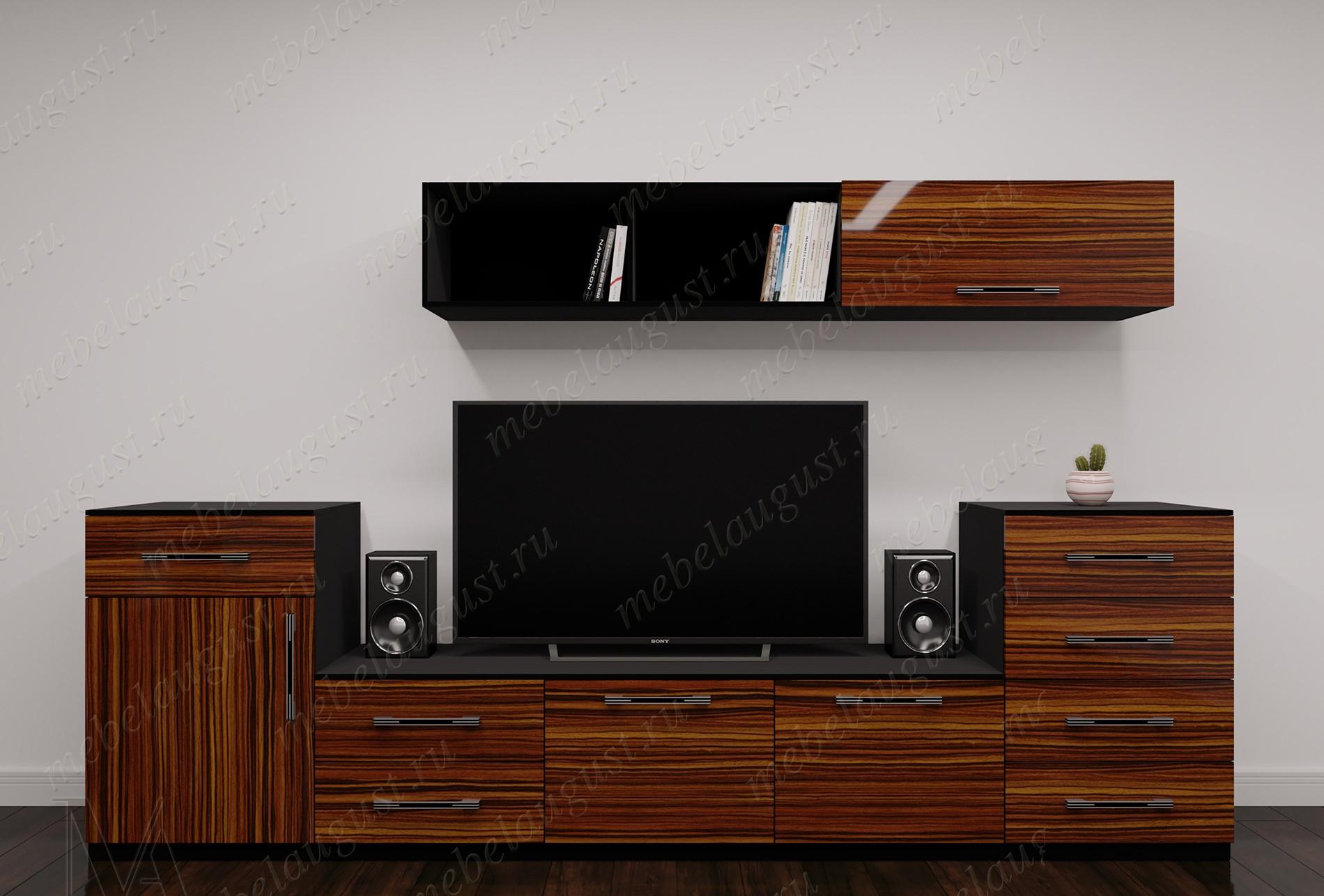 """Мебельная стенка """"шагрэ"""" под телевизор в спальню цвета макасар"""