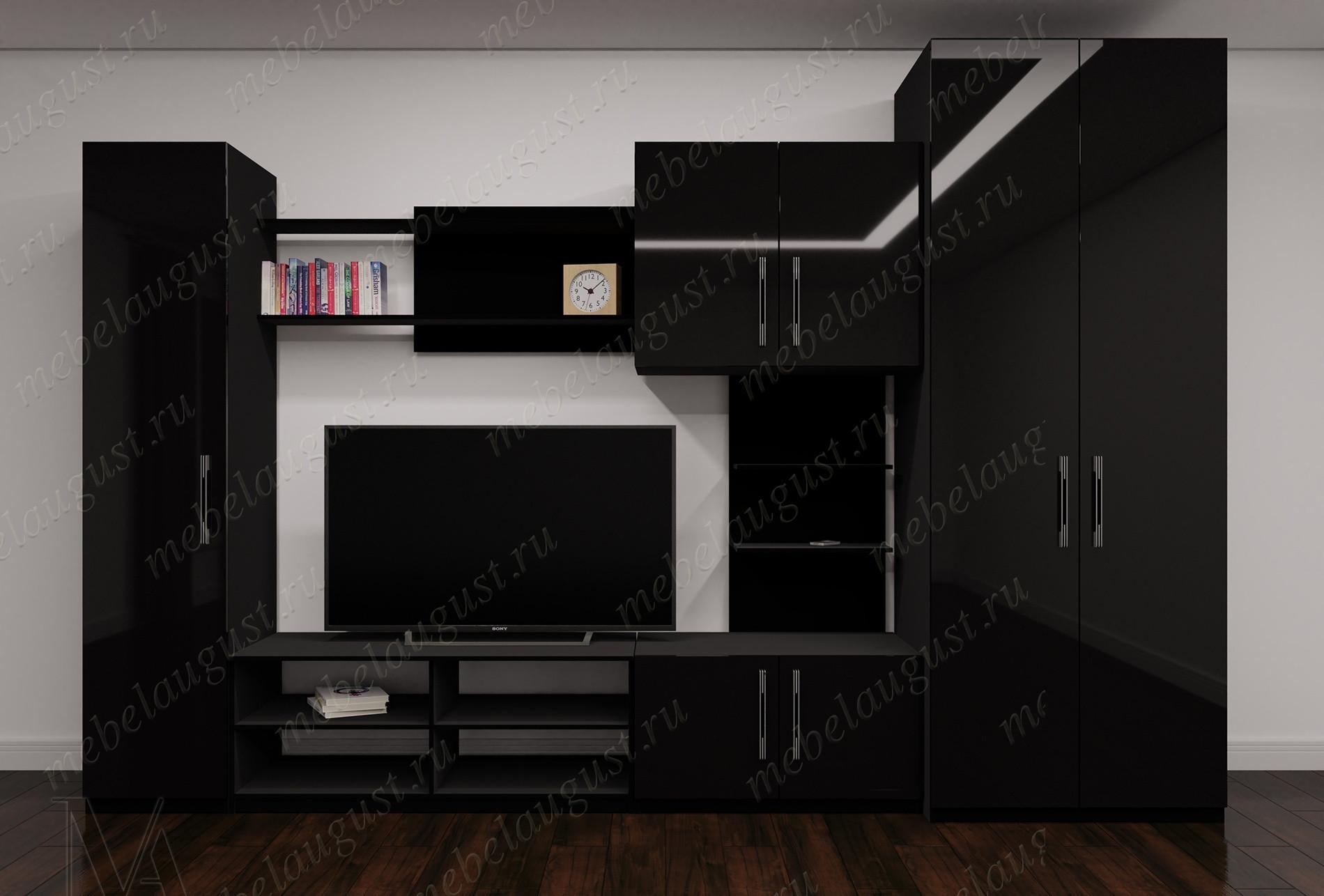 Стенка в гостиную с полкой для телевизора в спальню цвета черный глянец