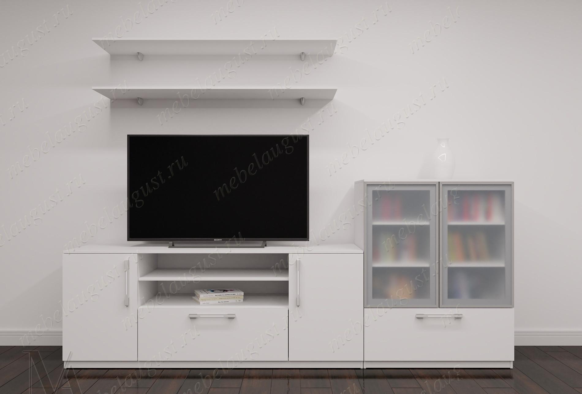 Мини стенка в гостиную под телевизор цвета белый глянец