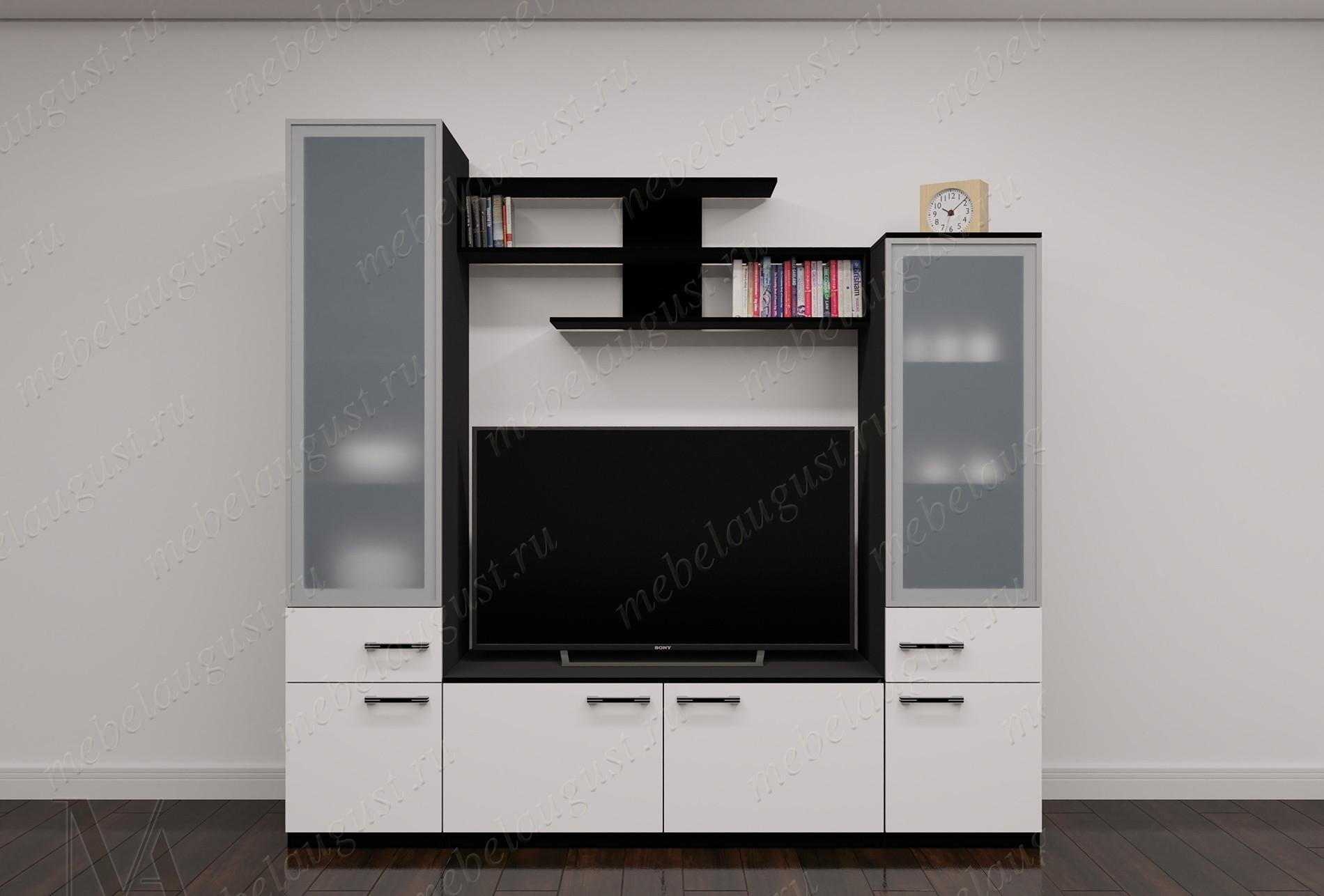 Мини мебельная стенка с полкой под телевизор цвета черно-белый глянец