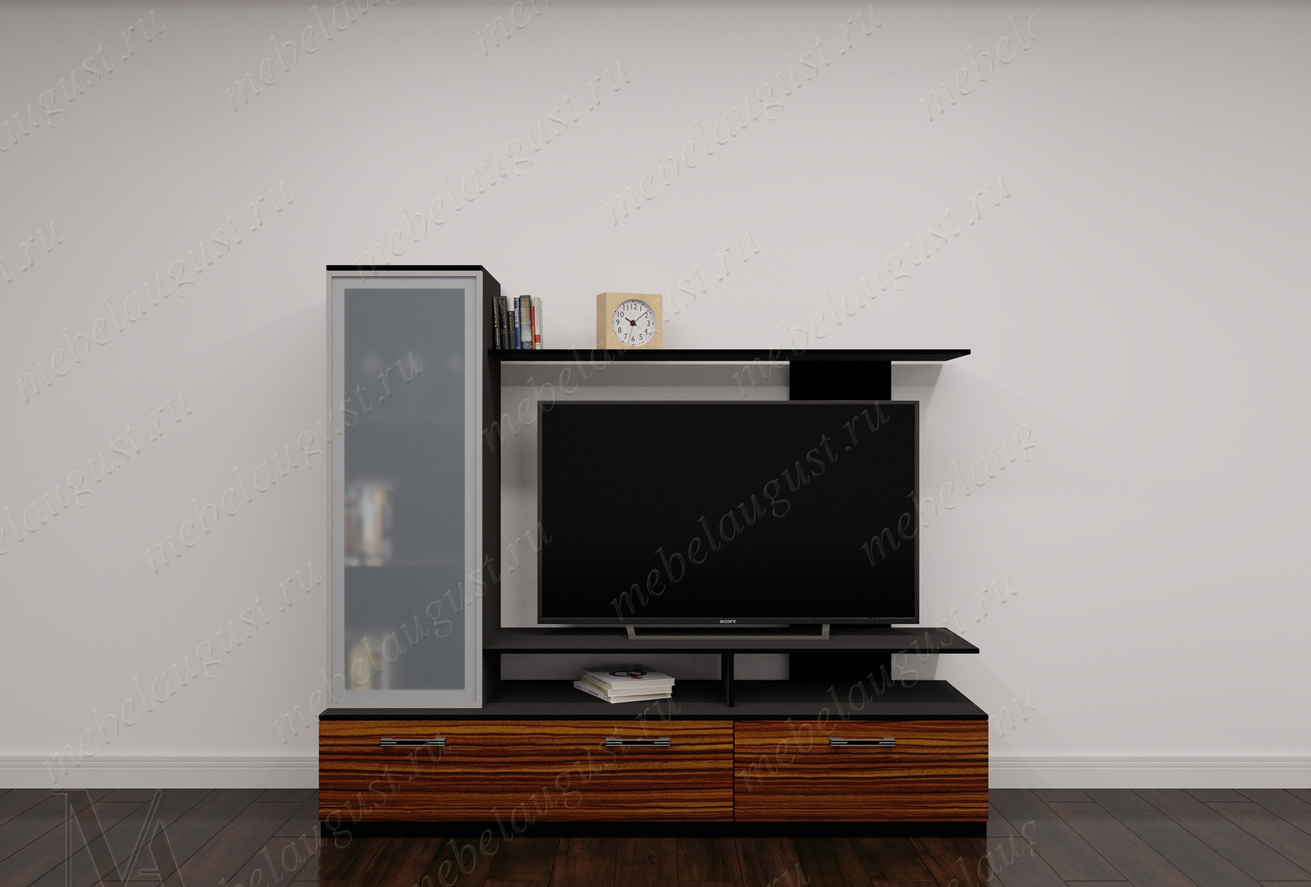 Глянцевая маленькая мебельная стенка для спальни с полкой под телевизор
