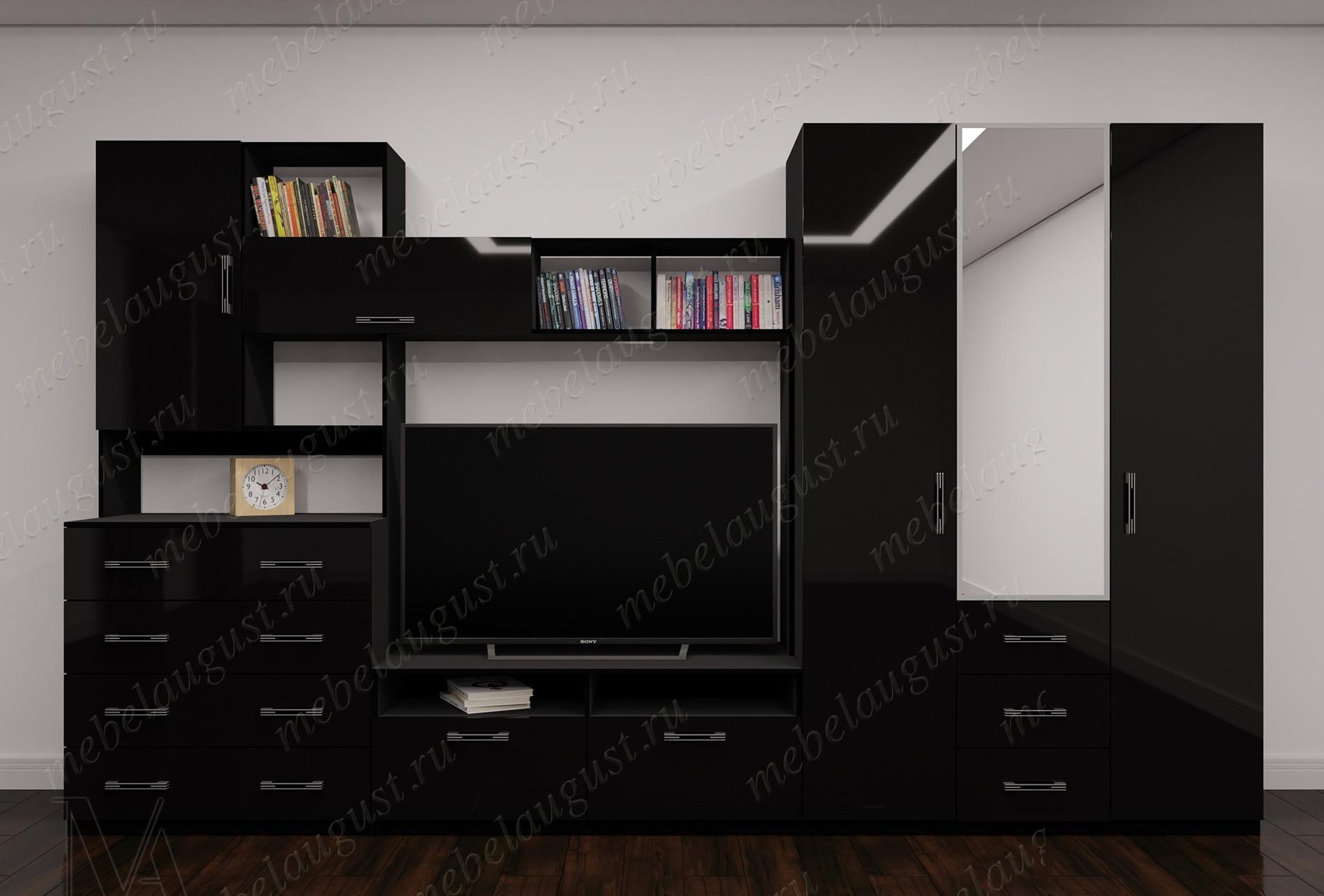 Черная глянцевая мебельная стенка с полкой под тв