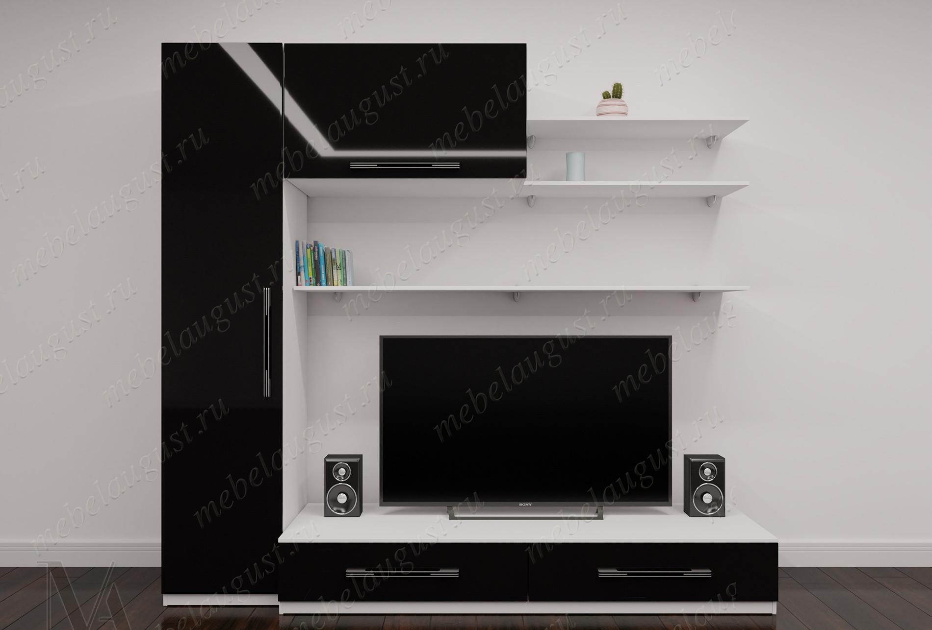 """Стенка в гостиную """"эллада-5"""" для спальни с полкой под тв цвета черно-белый глянец"""
