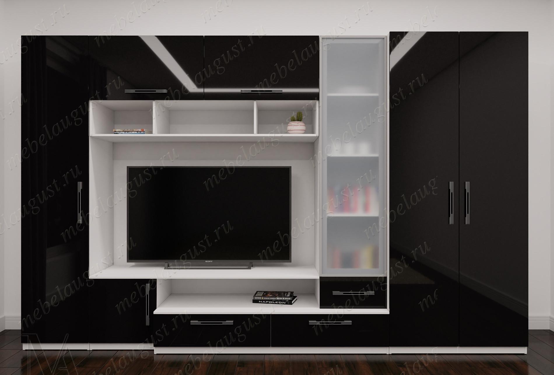 Черно-белая глянцевая стенка с полкой под телевизор