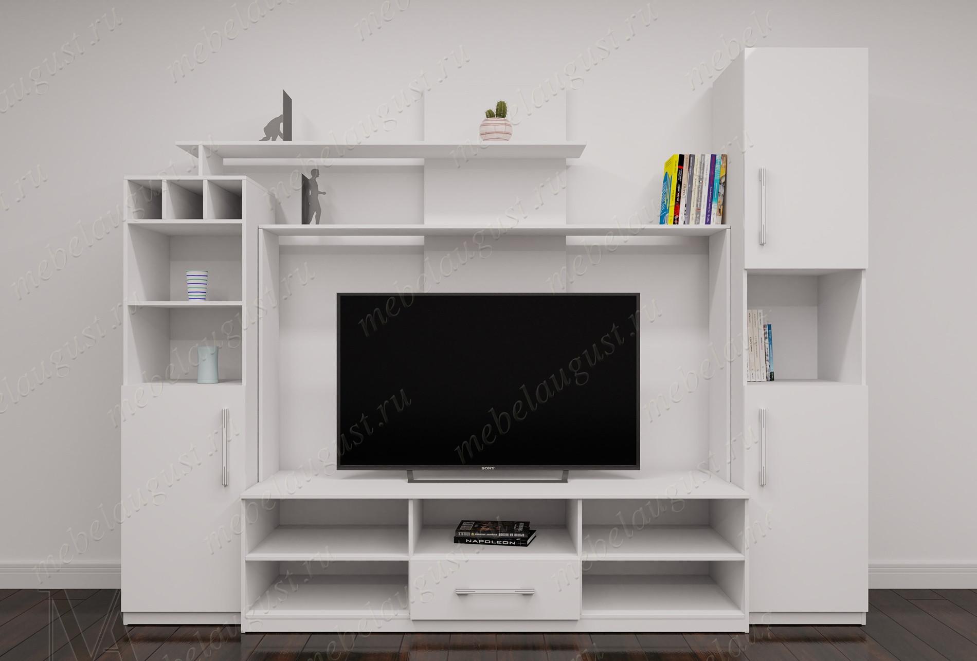 Белая глянцевая мебельная стенка под тв в спальню