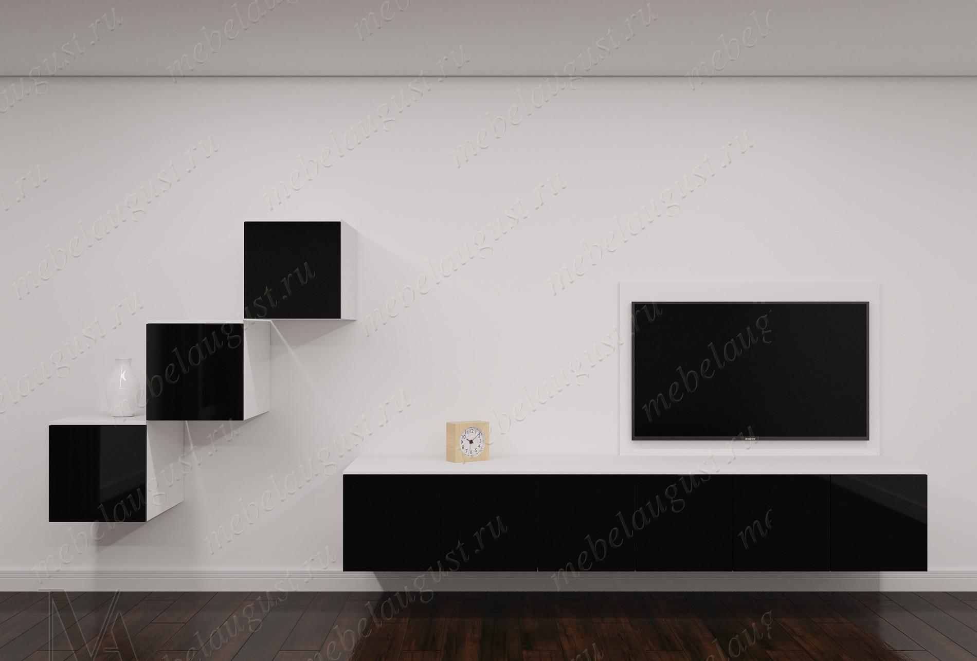 Черно-белая глянцевая малогабаритная мебельная стенка под тв в спальню