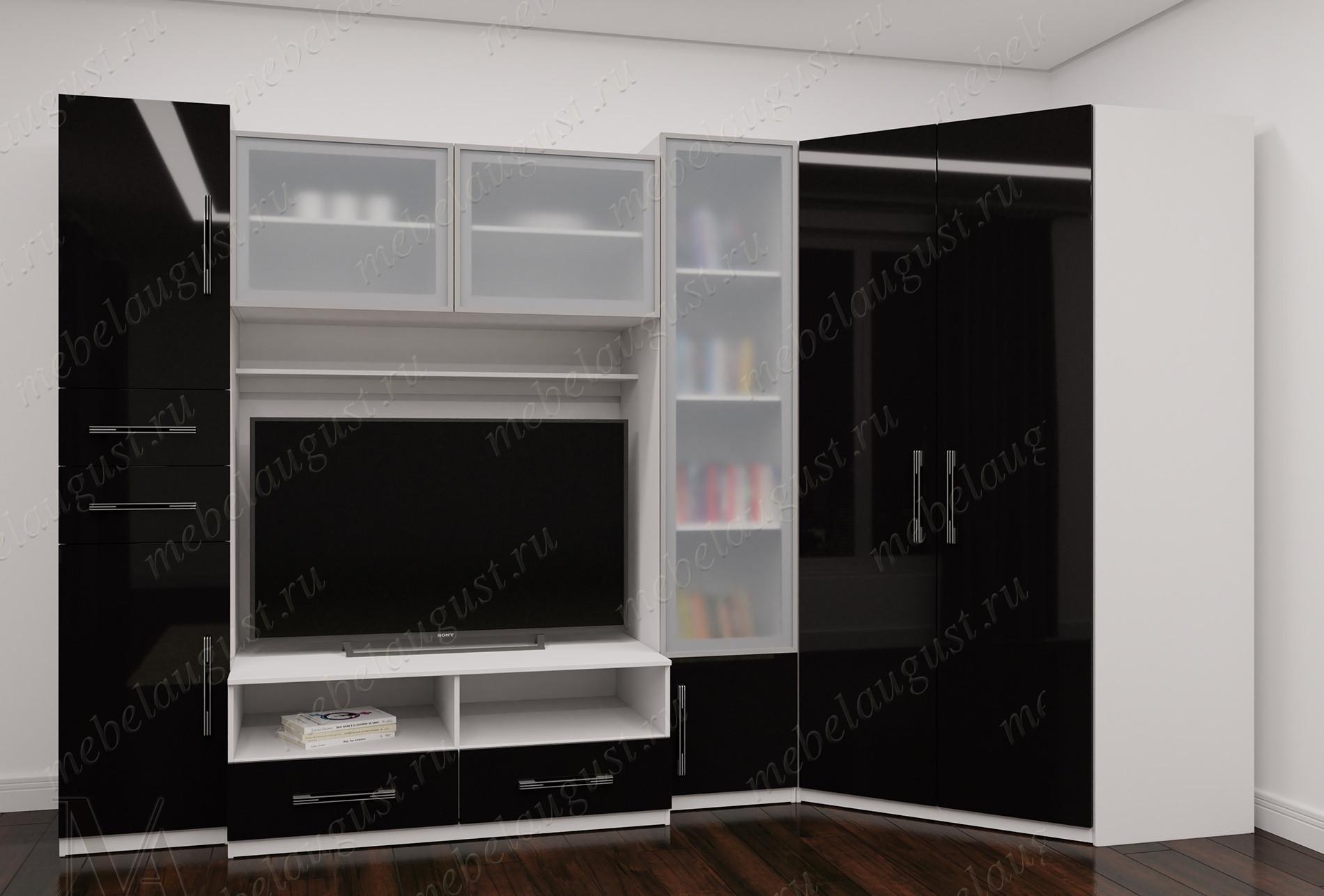 Черно-белая глянцевая мебельная стенка с полкой под тв