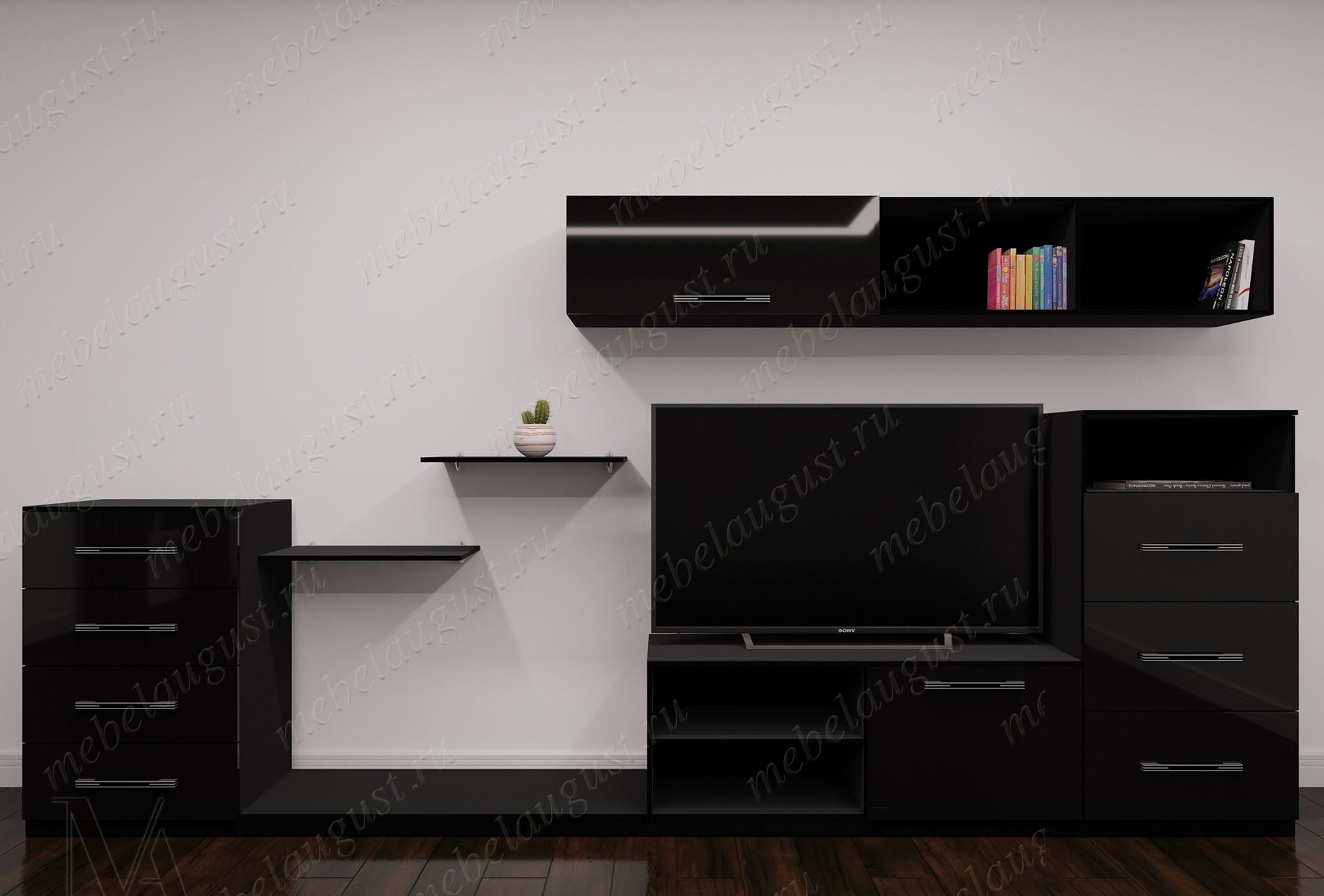 """Модульная мебельная стенка """"шагре"""" цвета черный глянец"""