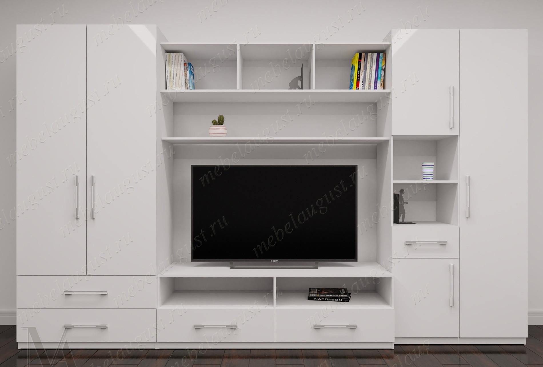 Стенка в гостиную с полкой под телевизор в спальню цвета белый глянец