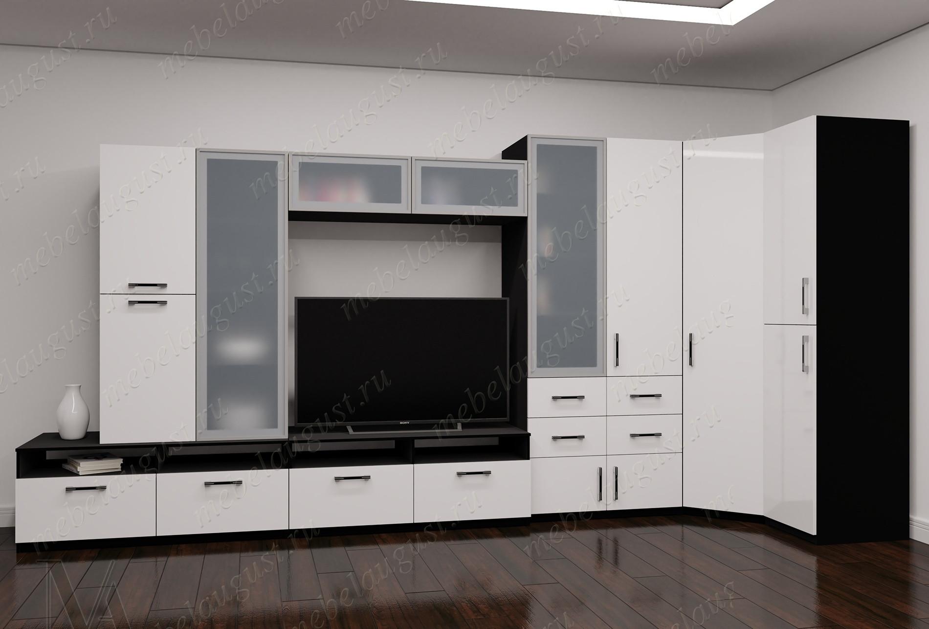 Стенка под телевизор цвета черно-белый глянец