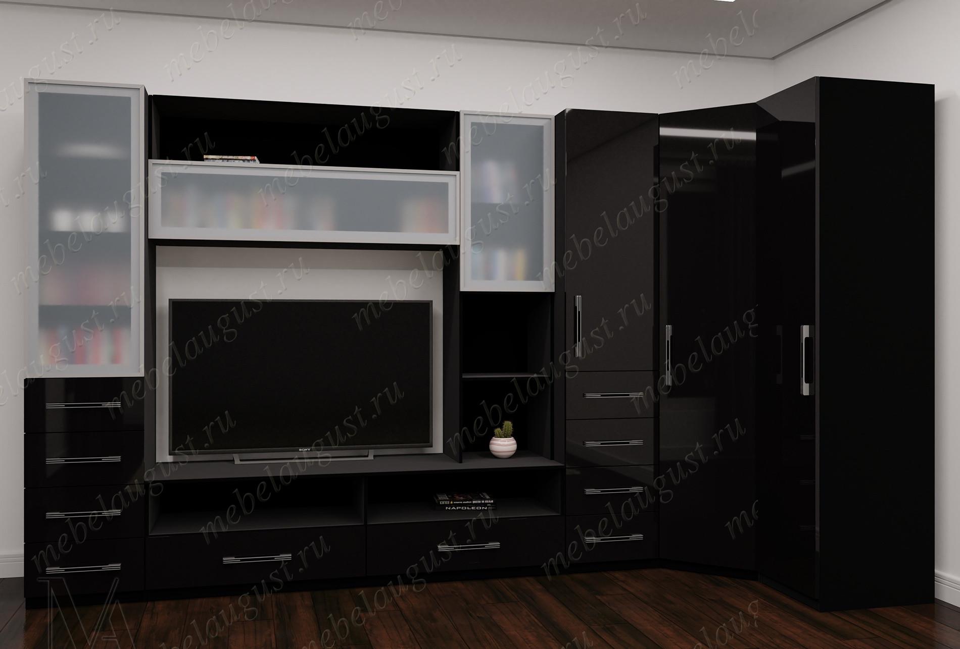 Широкая мебельная стенка с полкой для телевизора цвета черный глянец
