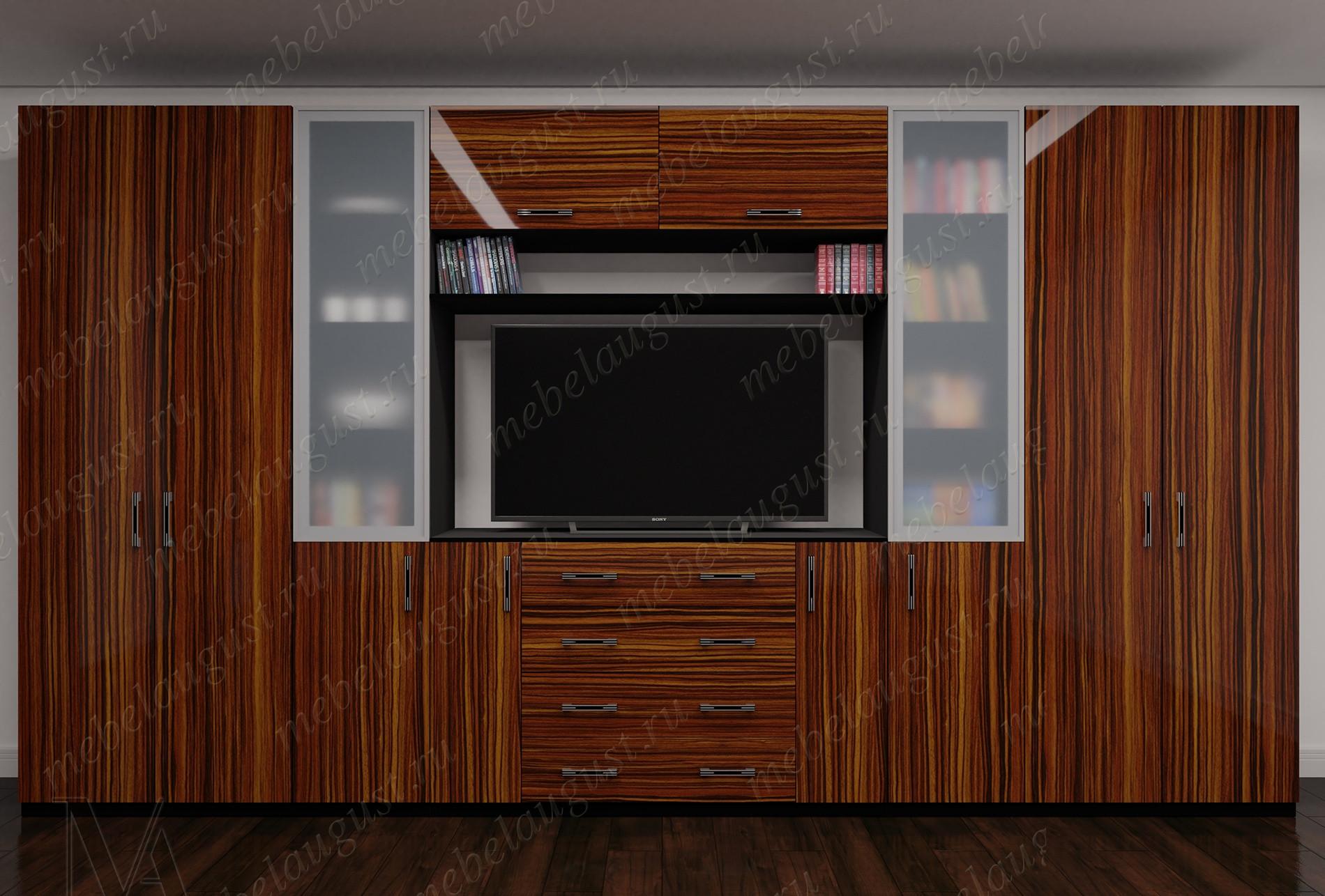 Стенка для спальни с полкой для телевизора цвета макасар