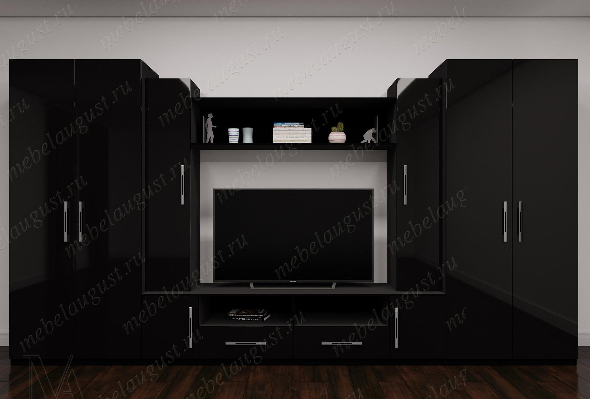 Мебельная стенка с полкой под телевизор в спальню цвета черный глянец