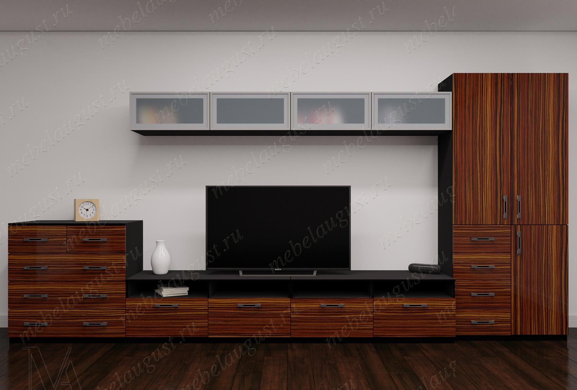 Глянцевая мебельная стенка с полкой под тв в спальню