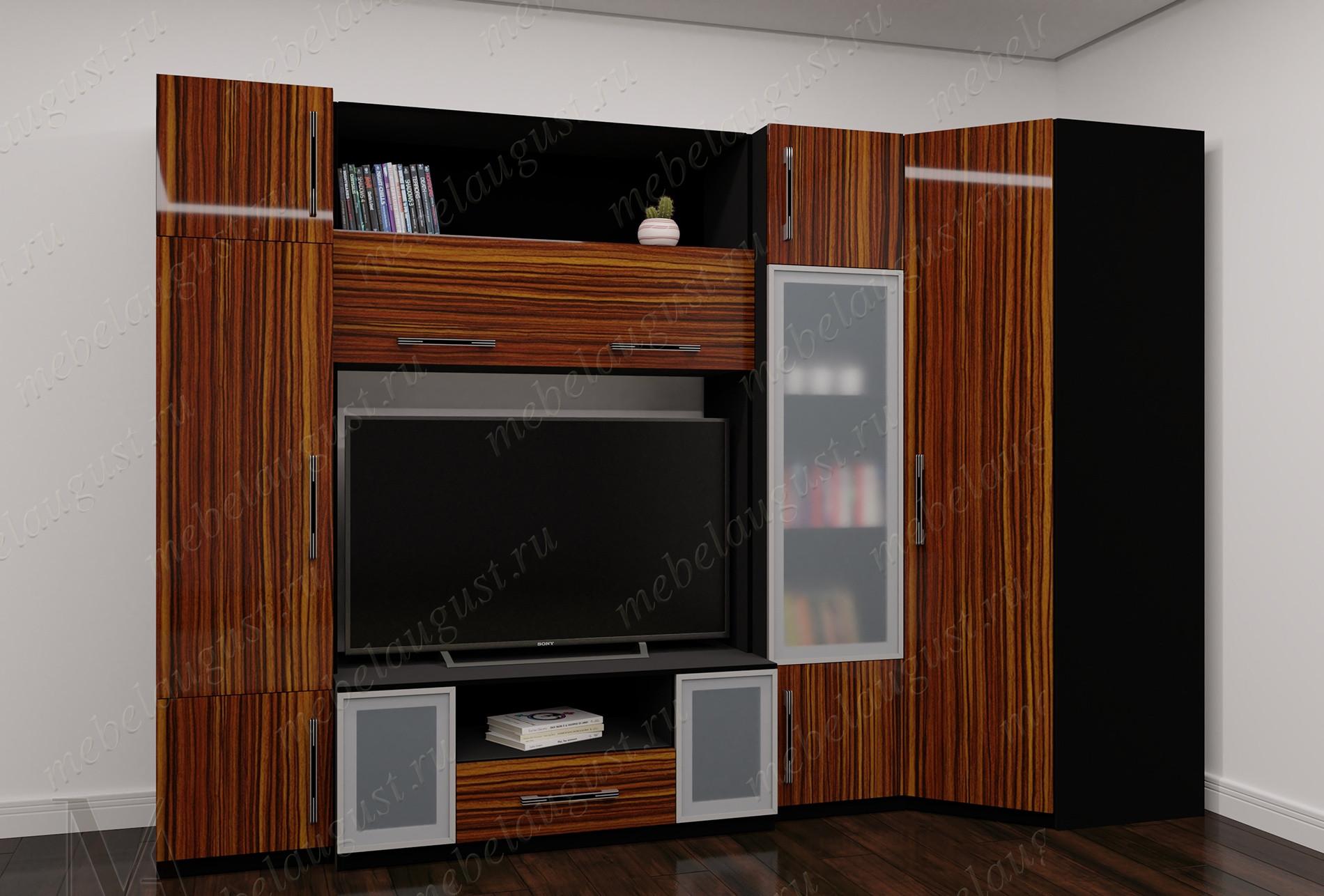 Глянцевая мебельная стенка с полкой под тв