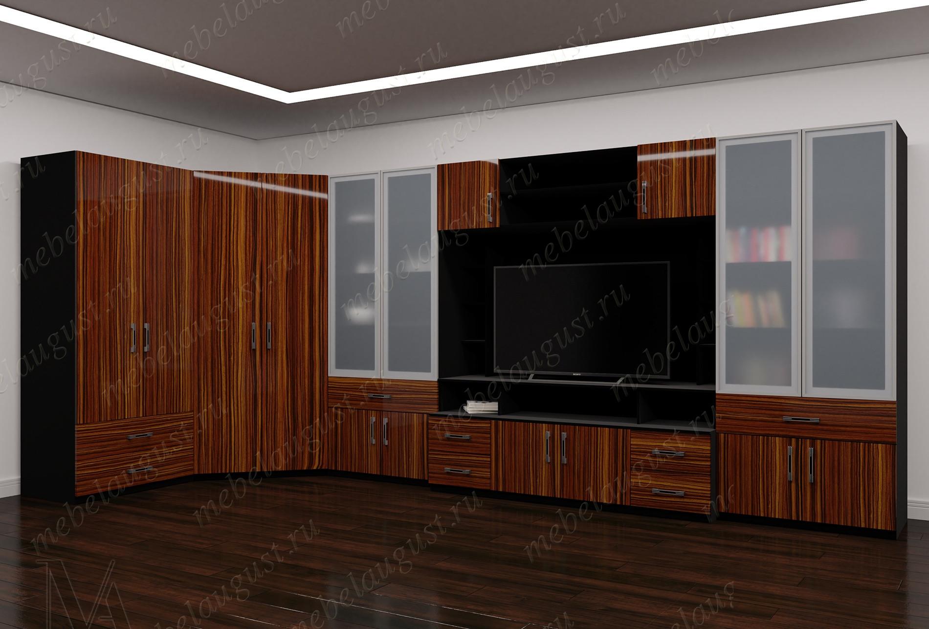 Широкая мебельная стенка с полкой под тв