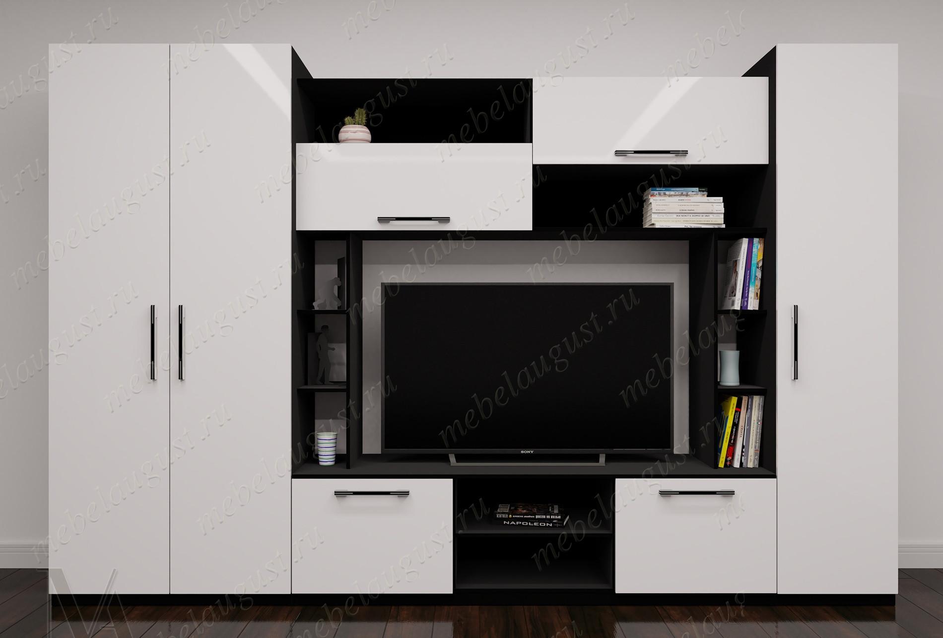 Стенка в гостиную цвета черно-белый глянец